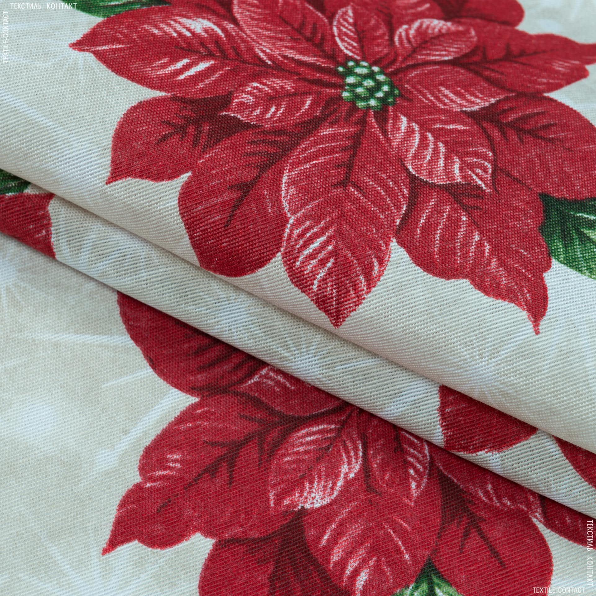 Тканини для декоративних подушок - Декоративна новорічна тканина Лонета пуансетія червоний