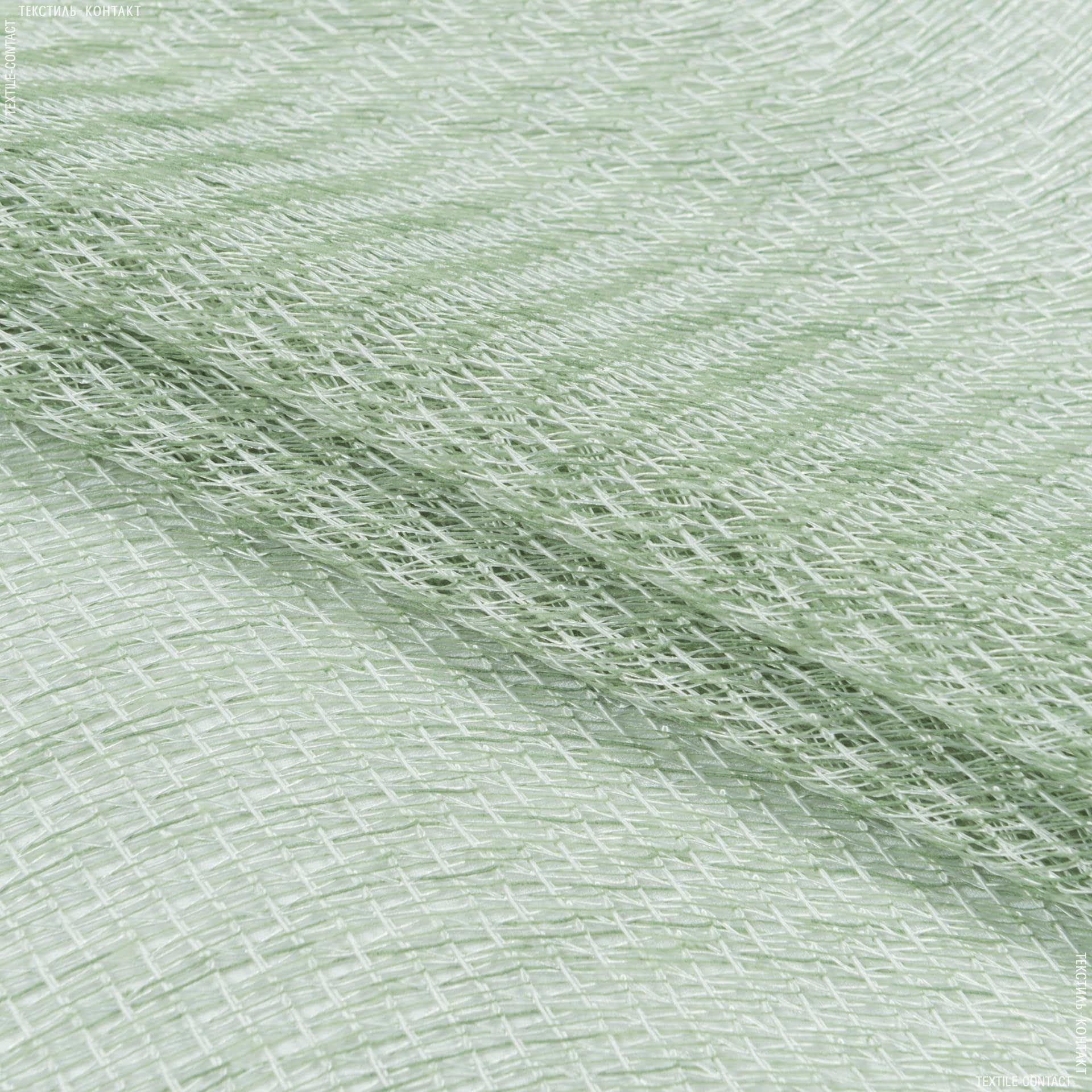 Тканини для рукоділля - Тюль сітка з обважнювачем ГЛАФІРА св.зелений
