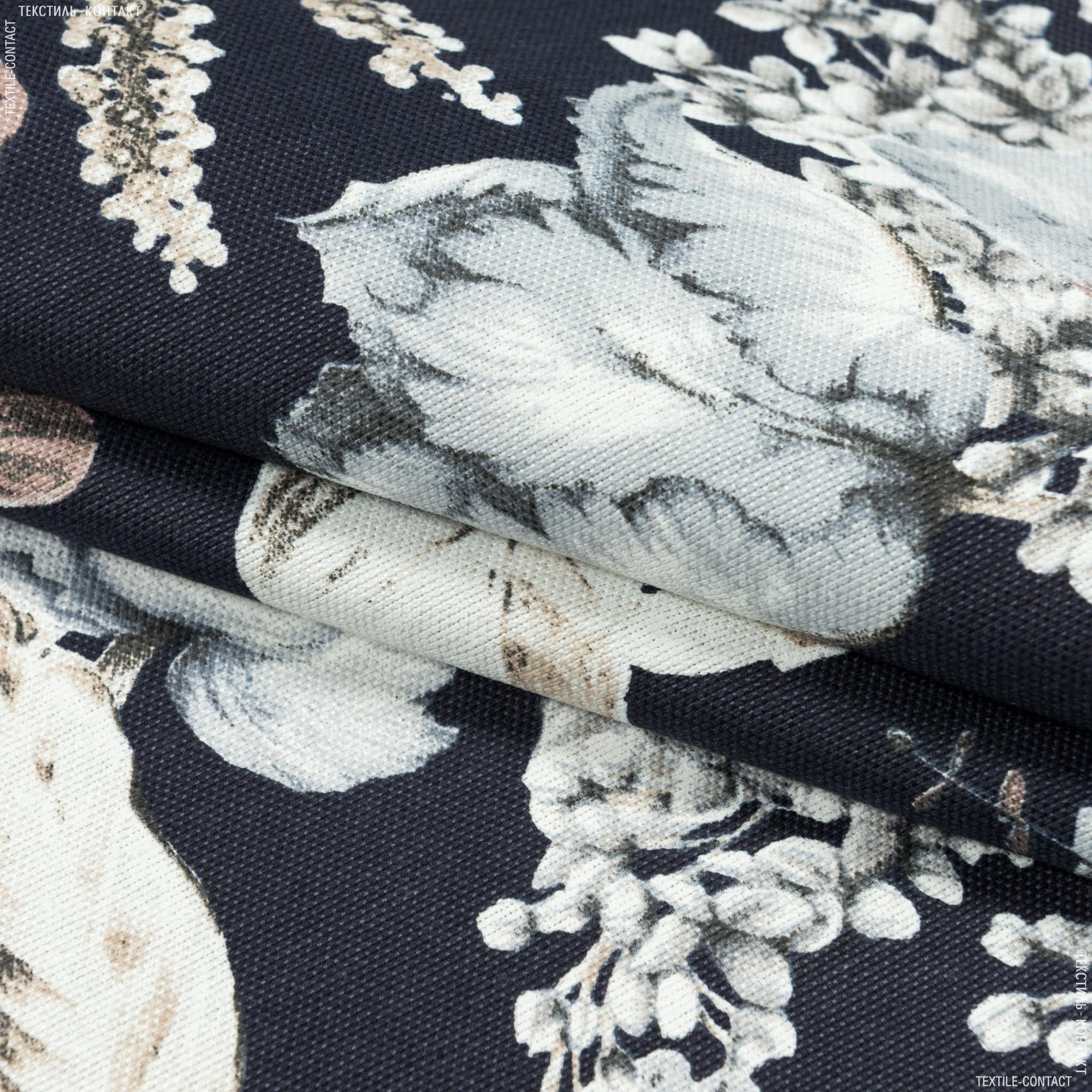 Ткани портьерные ткани - Декоративная ткань панама идалия цветы/idalia  св.серый