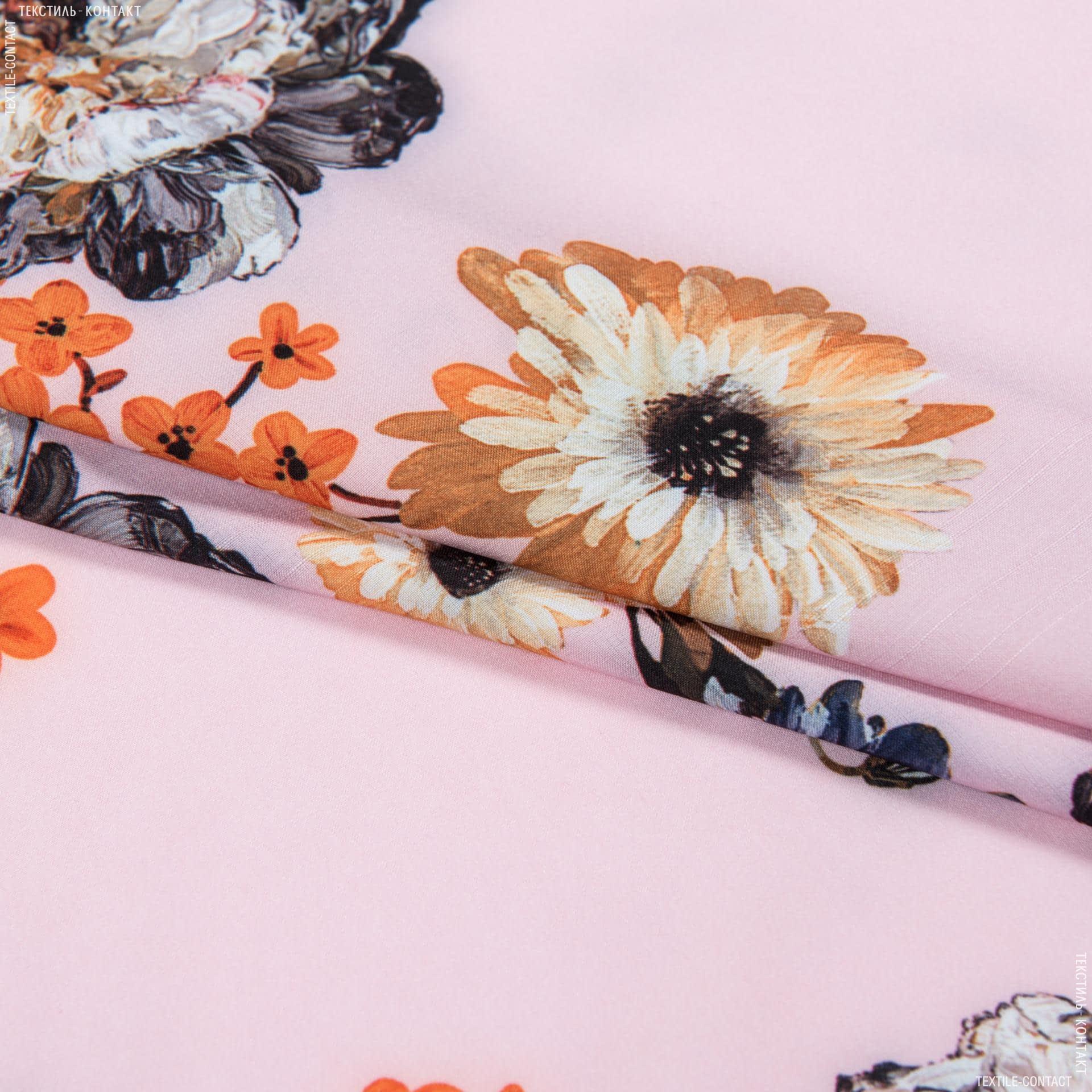 Ткани для платьев - Шифон пич стрейч принт