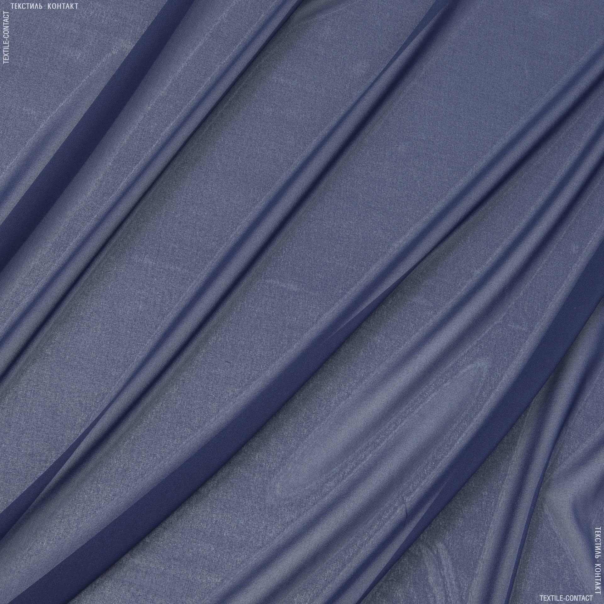 Ткани для платков и бандан - Шифон стрейч темно-синий
