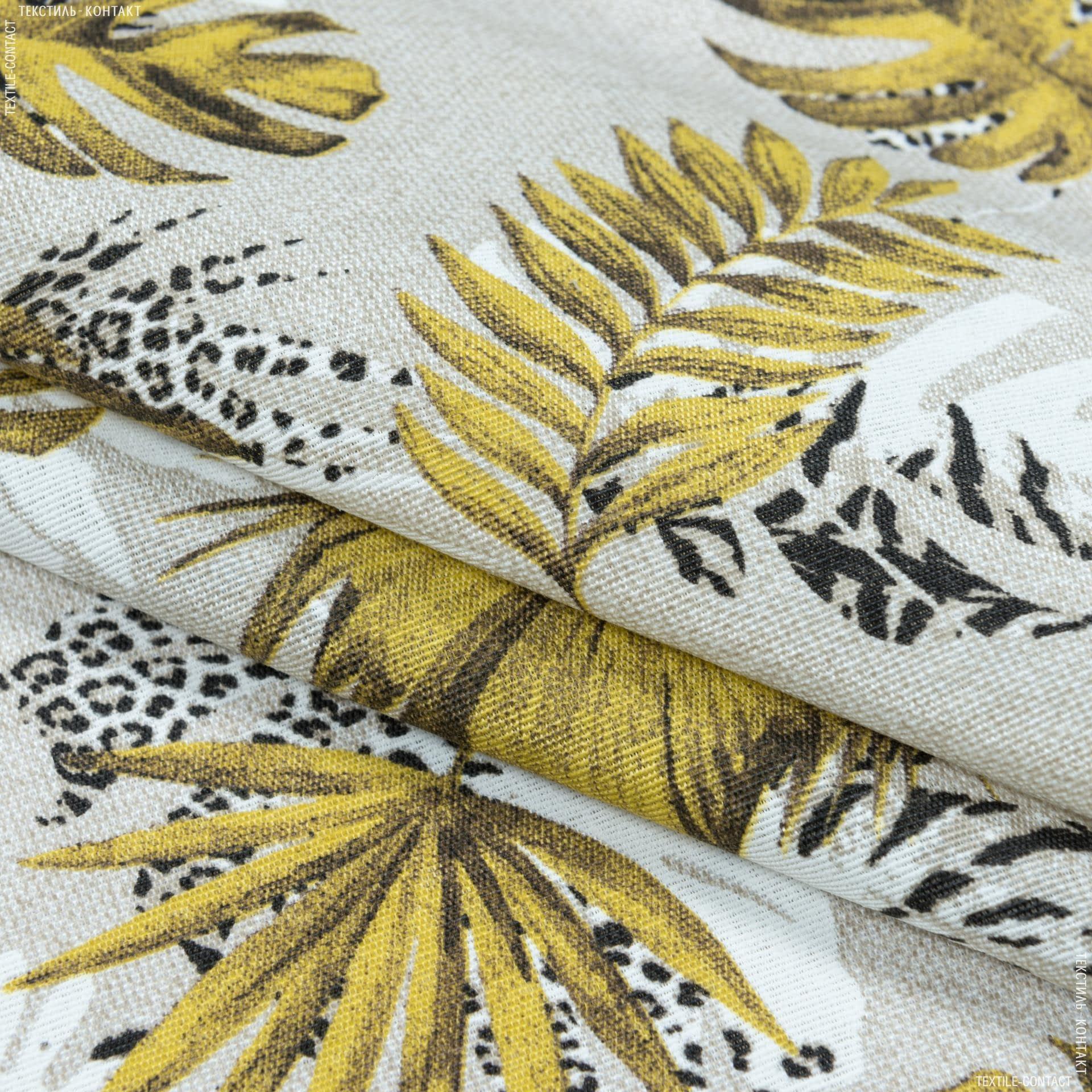 Тканини портьєрні тканини - Декоративна тканина селва дрібний лист/selva золото