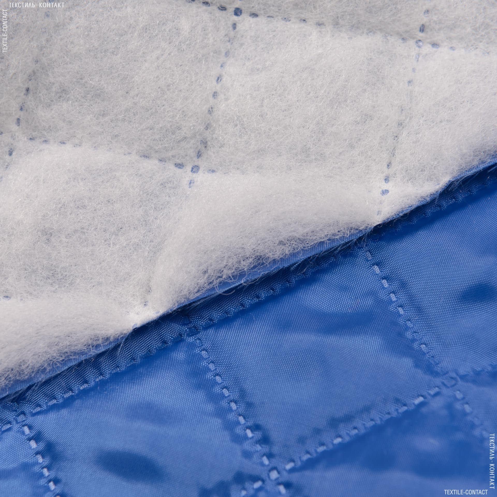 Ткани подкладочная ткань - Подкладка 190т термоспаянная с синтепоном 100г/м  5х5 василек