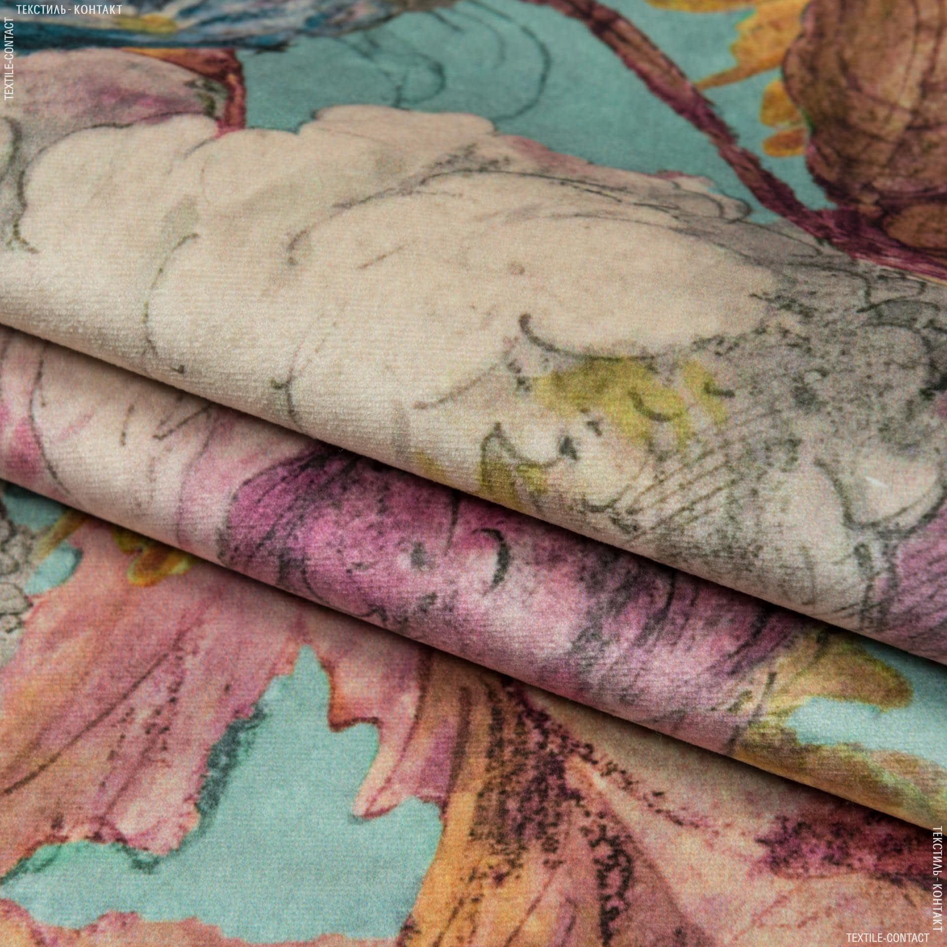 Тканини для меблів - Велюр  ребекка троянди /bouquet rebecca