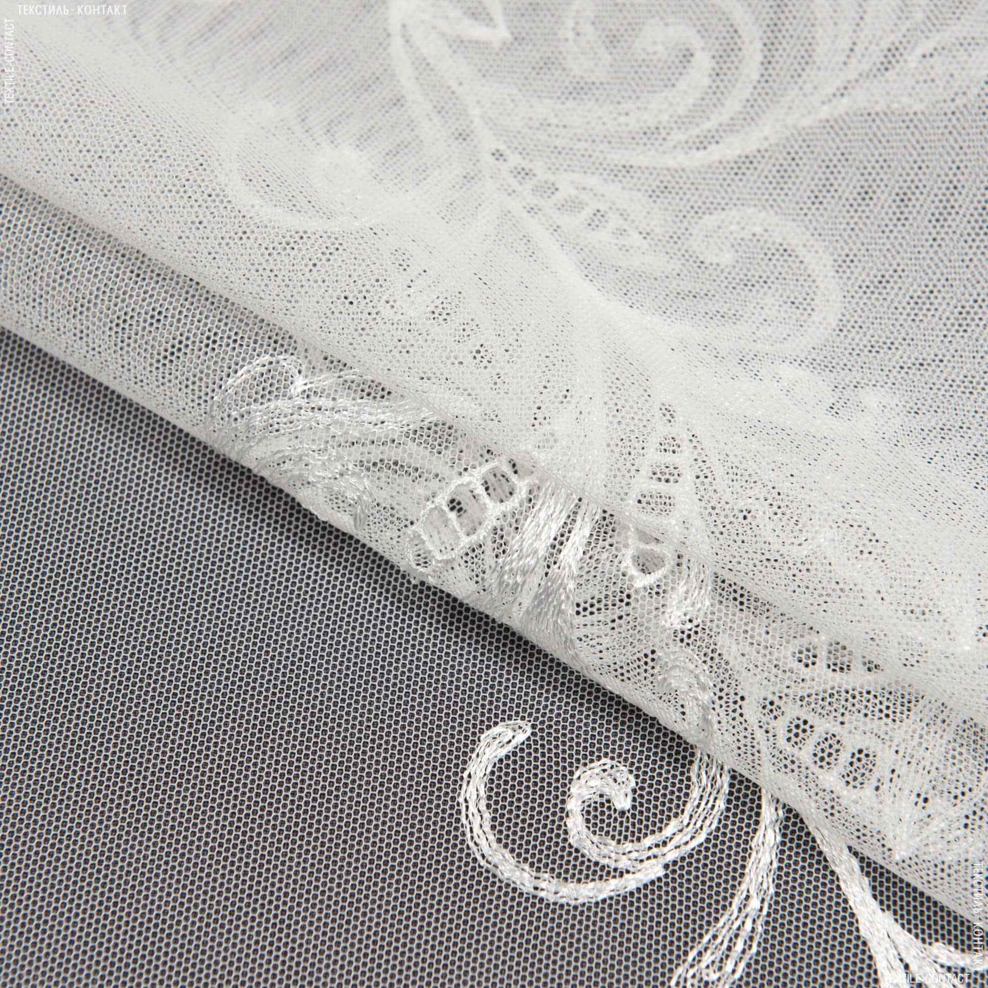 Тканини гардинні тканини - Тюль сітка вишивка азарія в'язь молочний