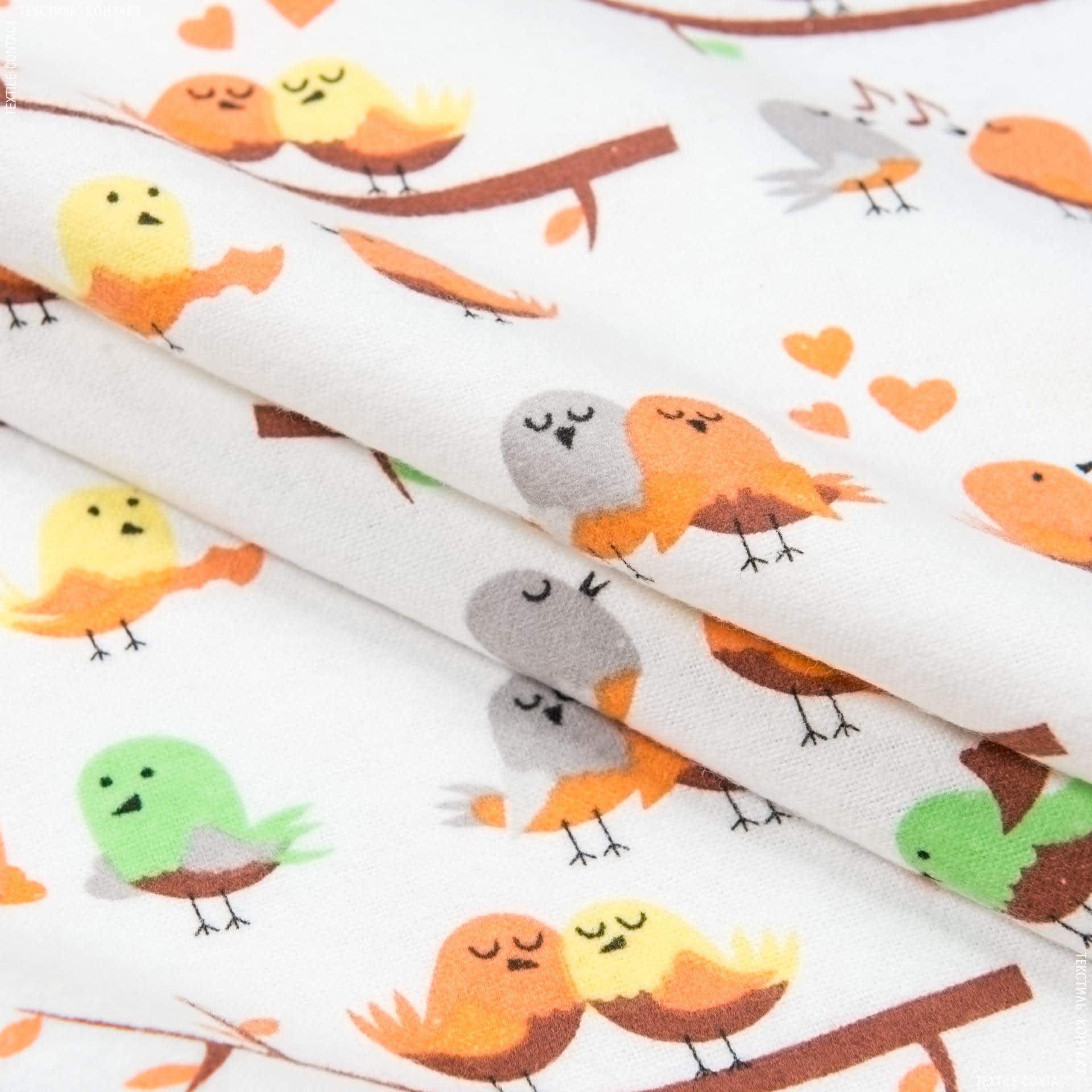 Тканини для дитячого одягу - Фланель білоземельна дитяча птахи