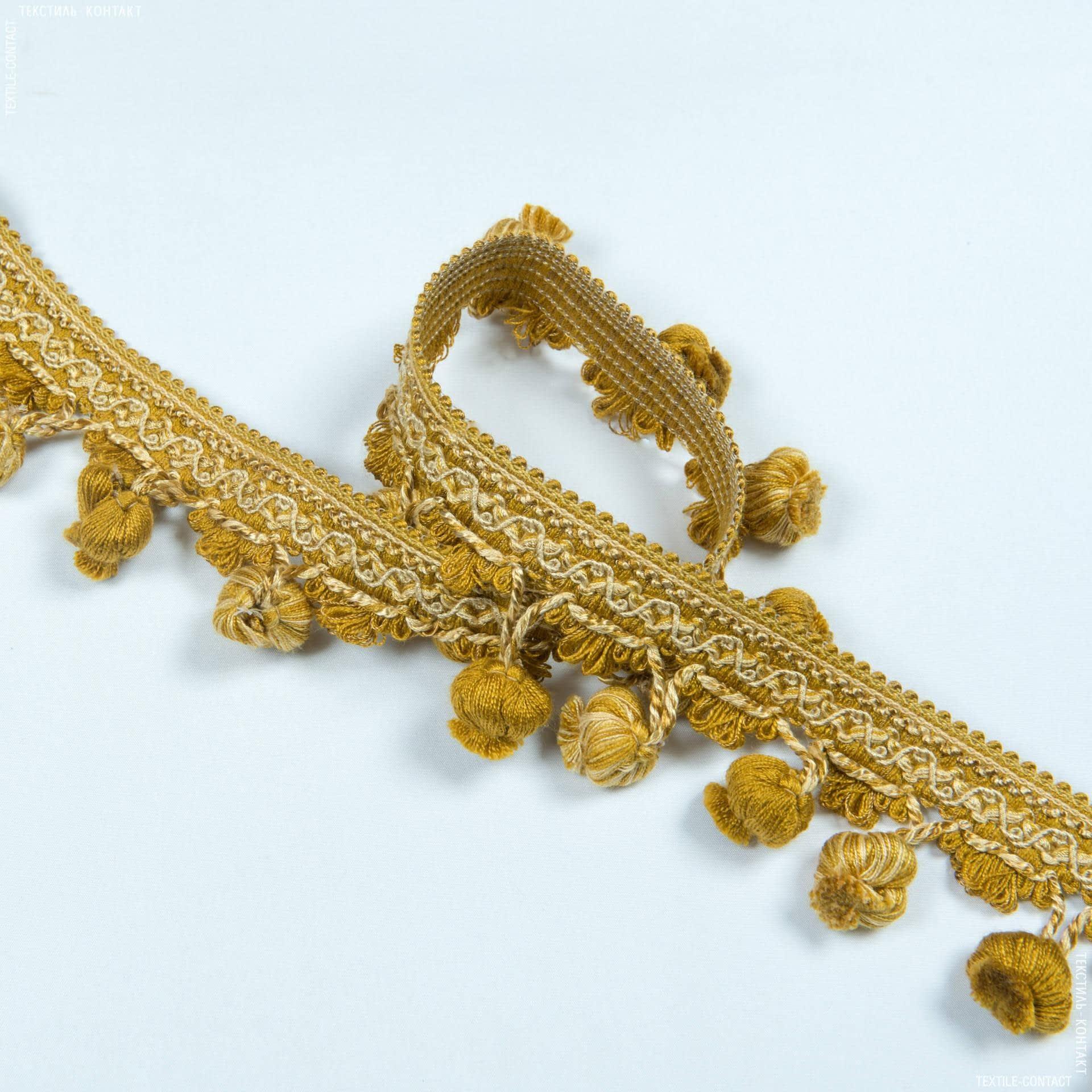 Тканини фурнітура для декора - Бахрома базель китиця золото