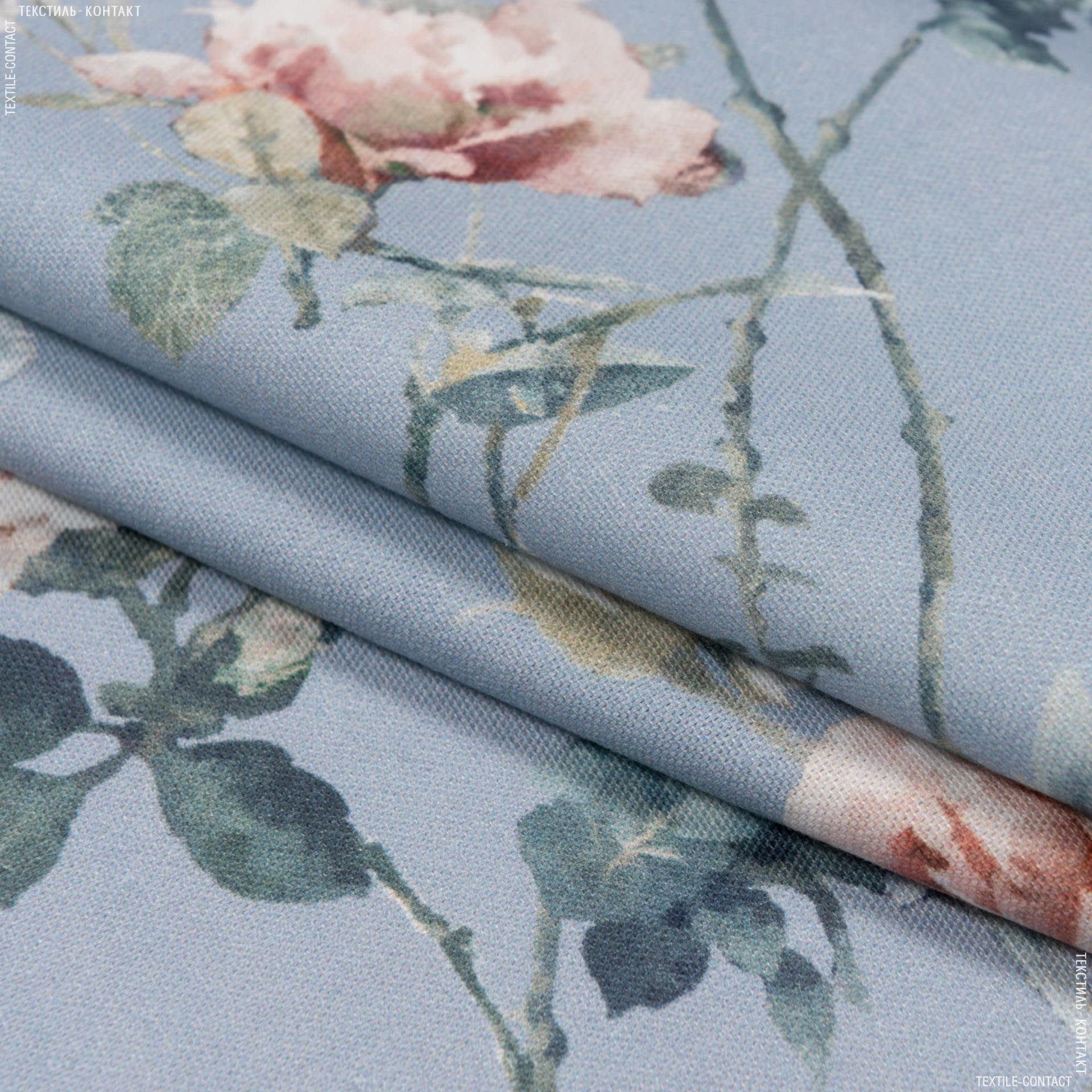 Ткани портьерные ткани - Декоративная ткань  сомбра розы /  sombra фон голубой