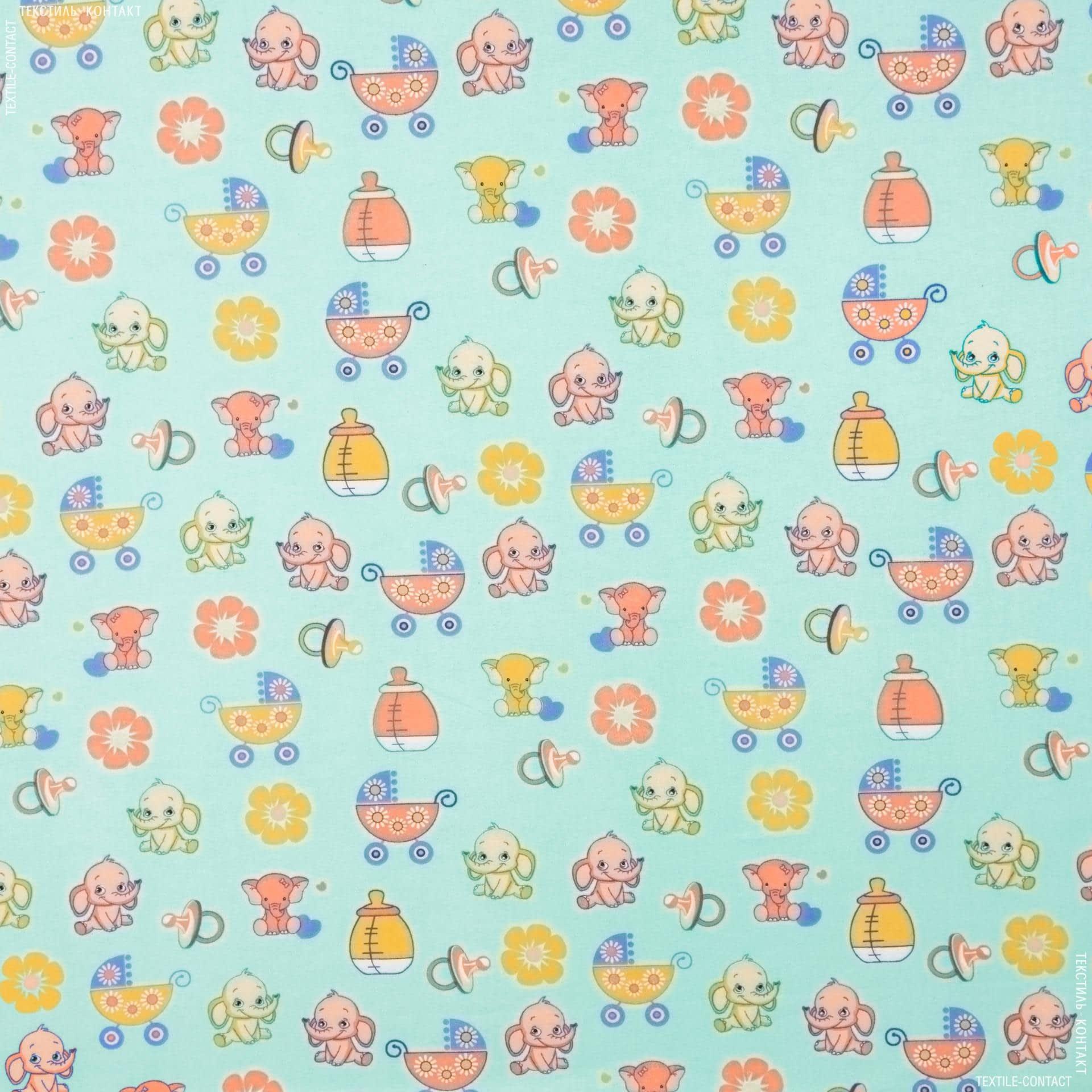 Ткани для детской одежды - Фланель белоземельная слоник