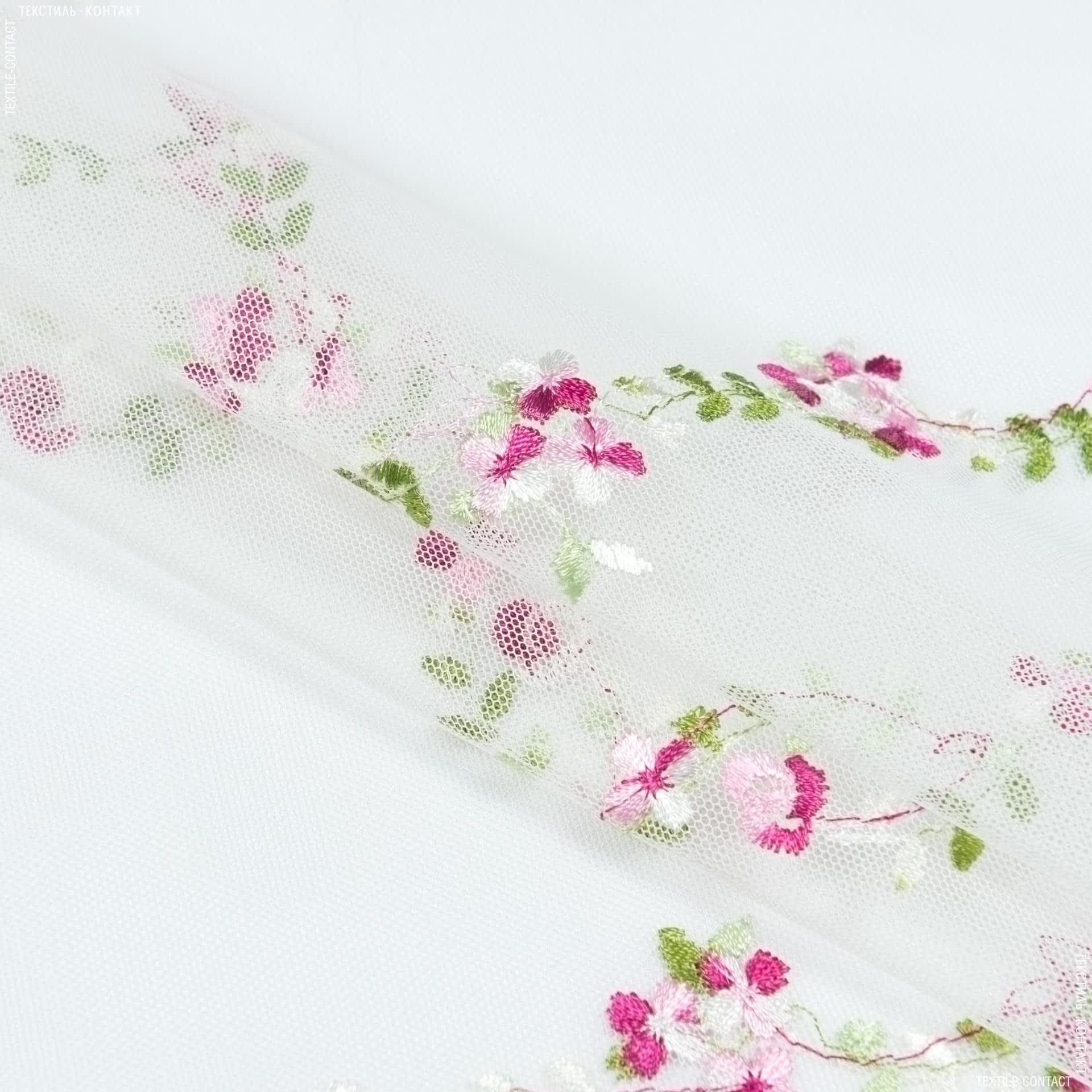 Ткани для тюли - Тюль  силена вышивка цветы фиолет