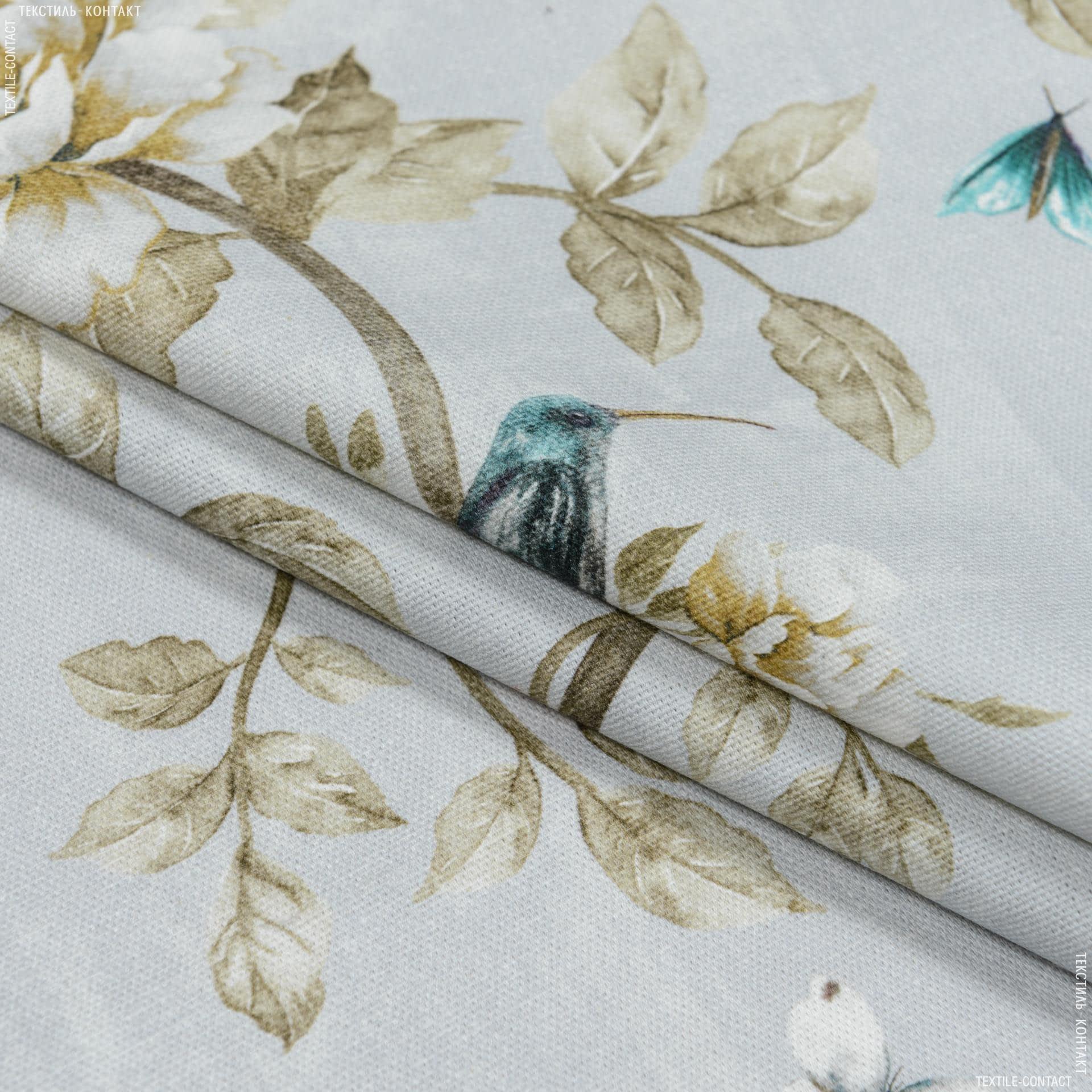 Тканини портьєрні тканини - Декоративна тканина квіти колібрі / тон св.сірий