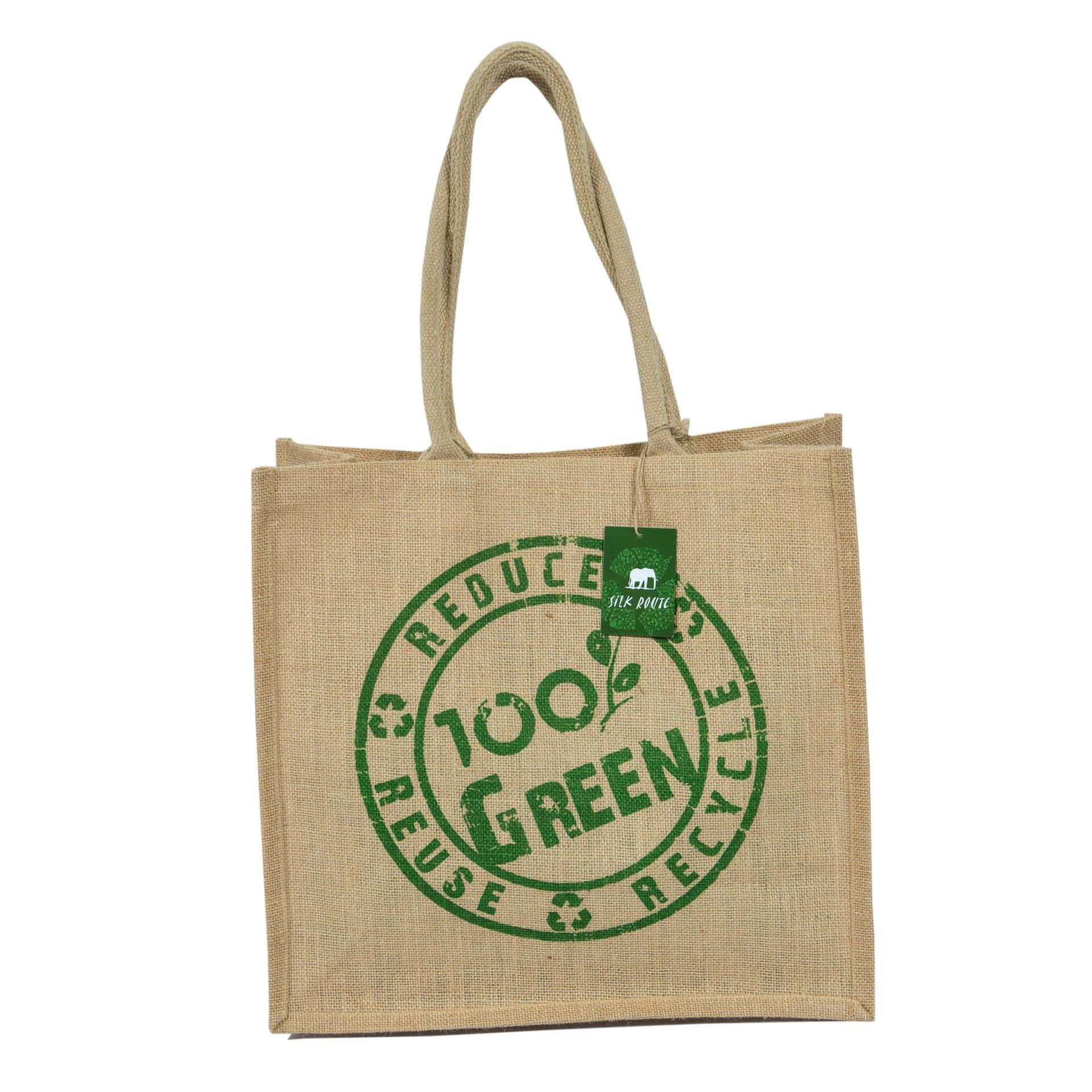 Ткани сумка шоппер - Сумка джутовая шоппер 100% green (ручка 53 см)