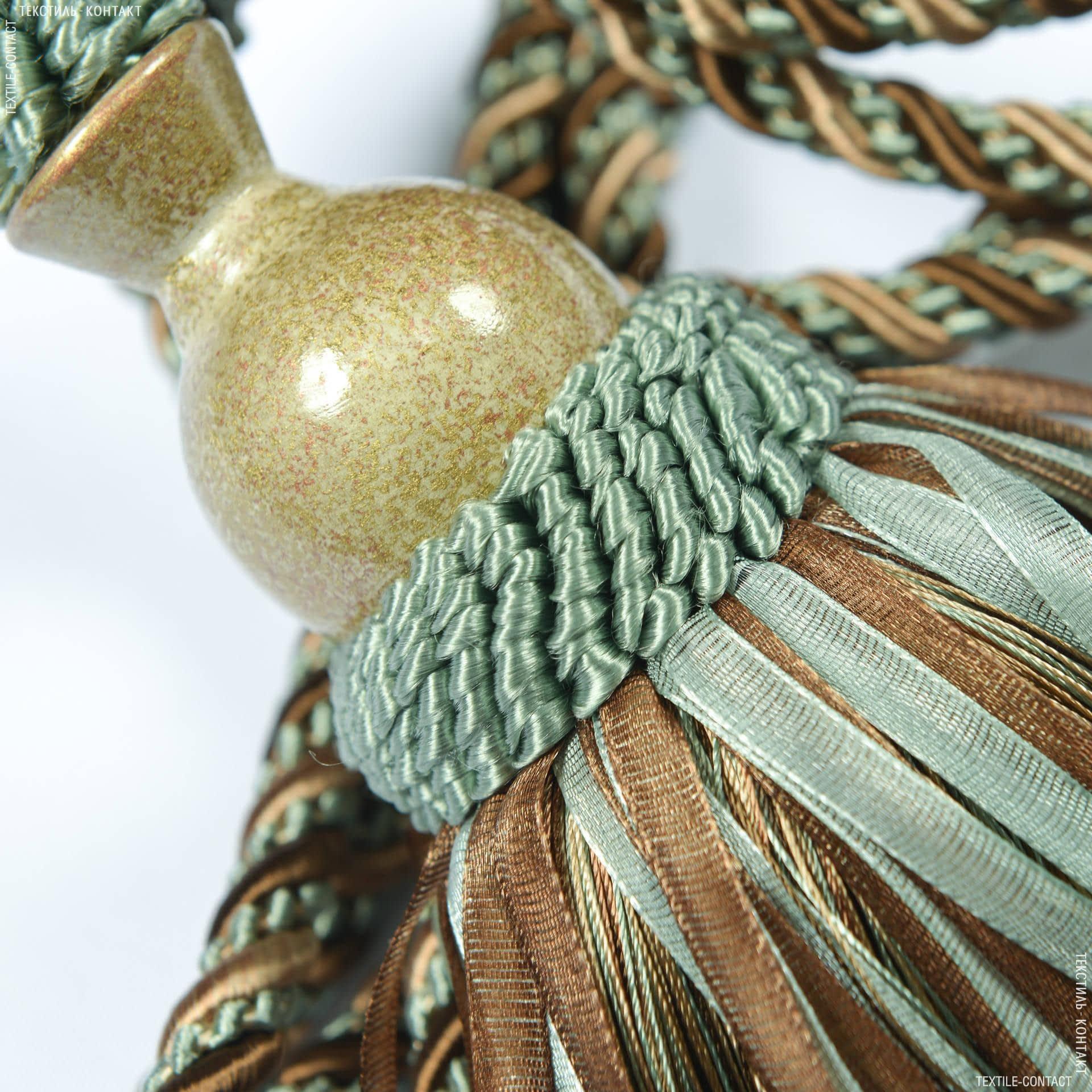 Тканини фурнітура для декора - Кисті імеджен органза коричневий/бірюза