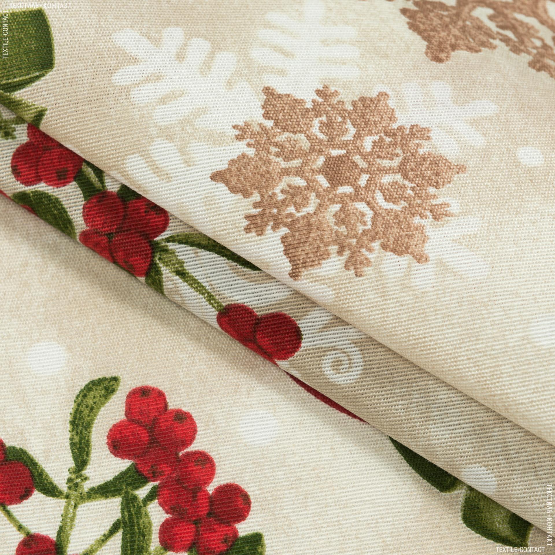 Тканини для декоративних подушок - Декоративна новорічна тканина глорія кульки