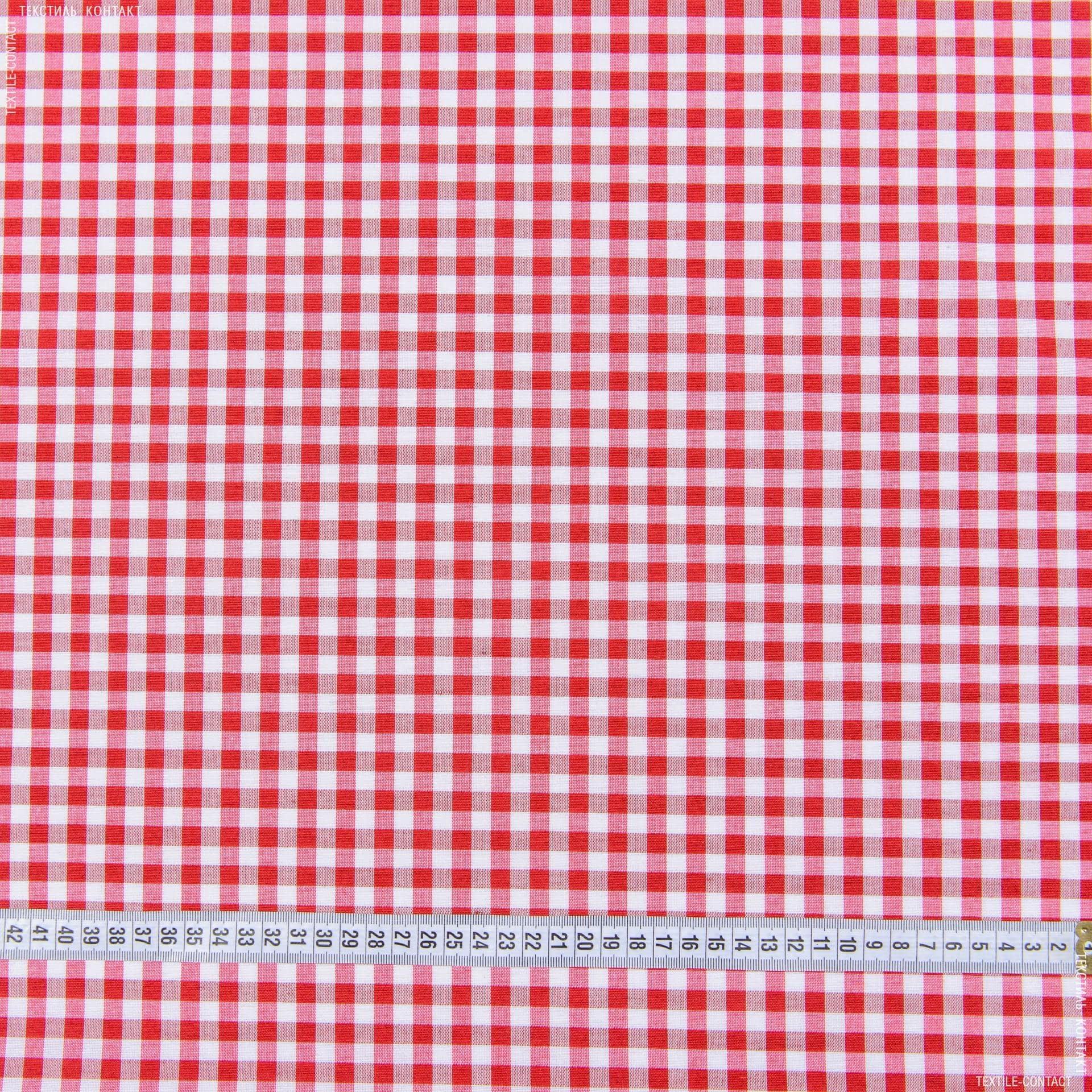 Ткани для банкетных и фуршетных юбок - Ткань скатертная пепита в клетку красный