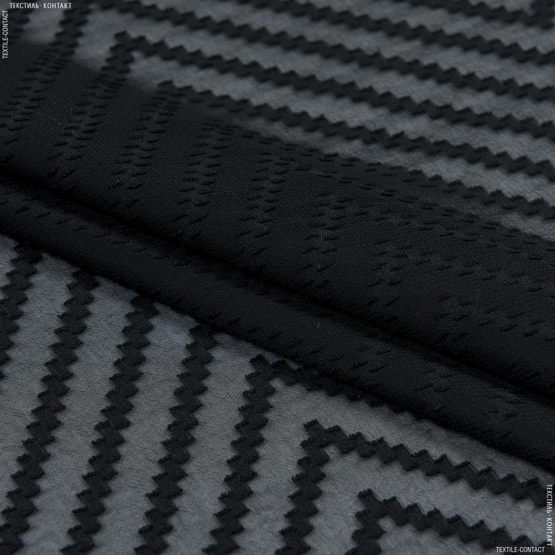 Тканини для суконь - Шифон деворе чорний