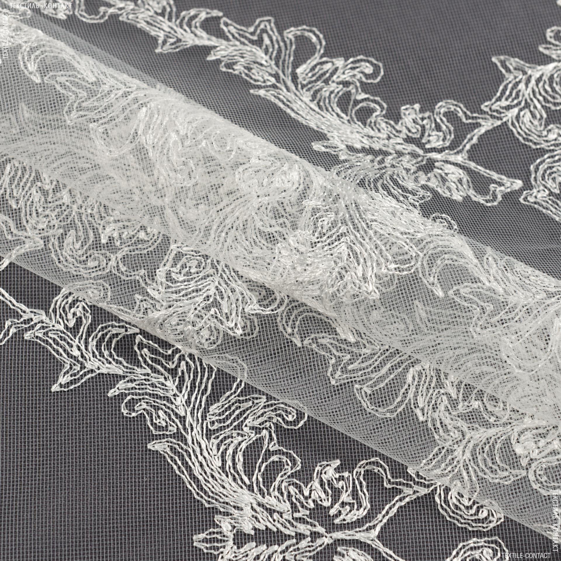 Ткани гардинные ткани - Тюль вышивка  сабрина вензель молочный