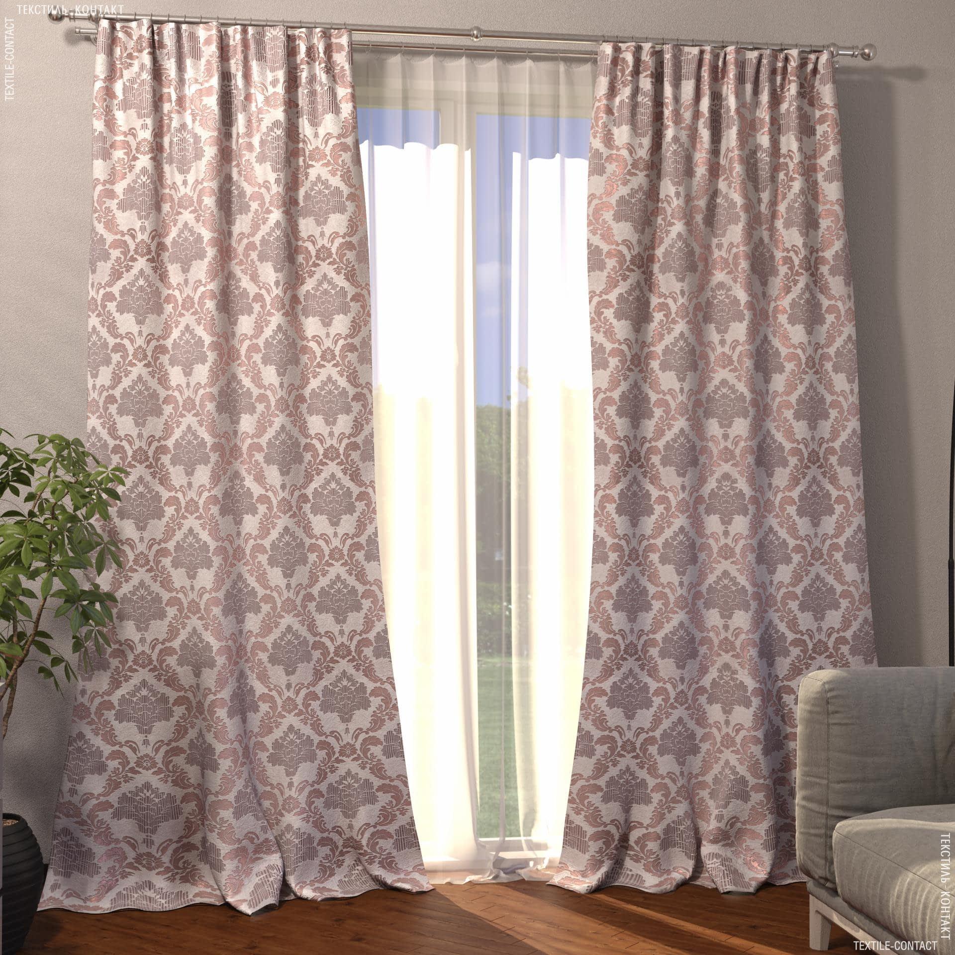 Ткани готовые изделия - Декоративная штора жаккард вензель/фрез,серый 150/270 см
