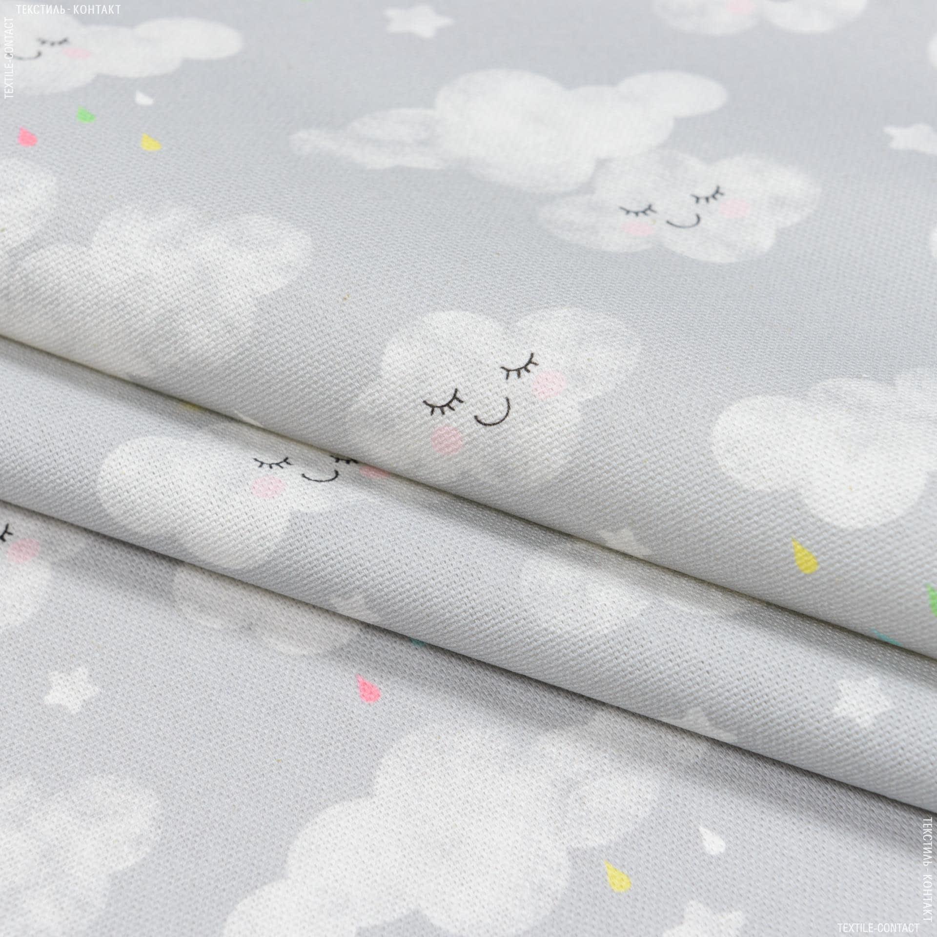 Тканини портьєрні тканини - Декоративна тканина бімбі хмаринка/bimbi тон сірий