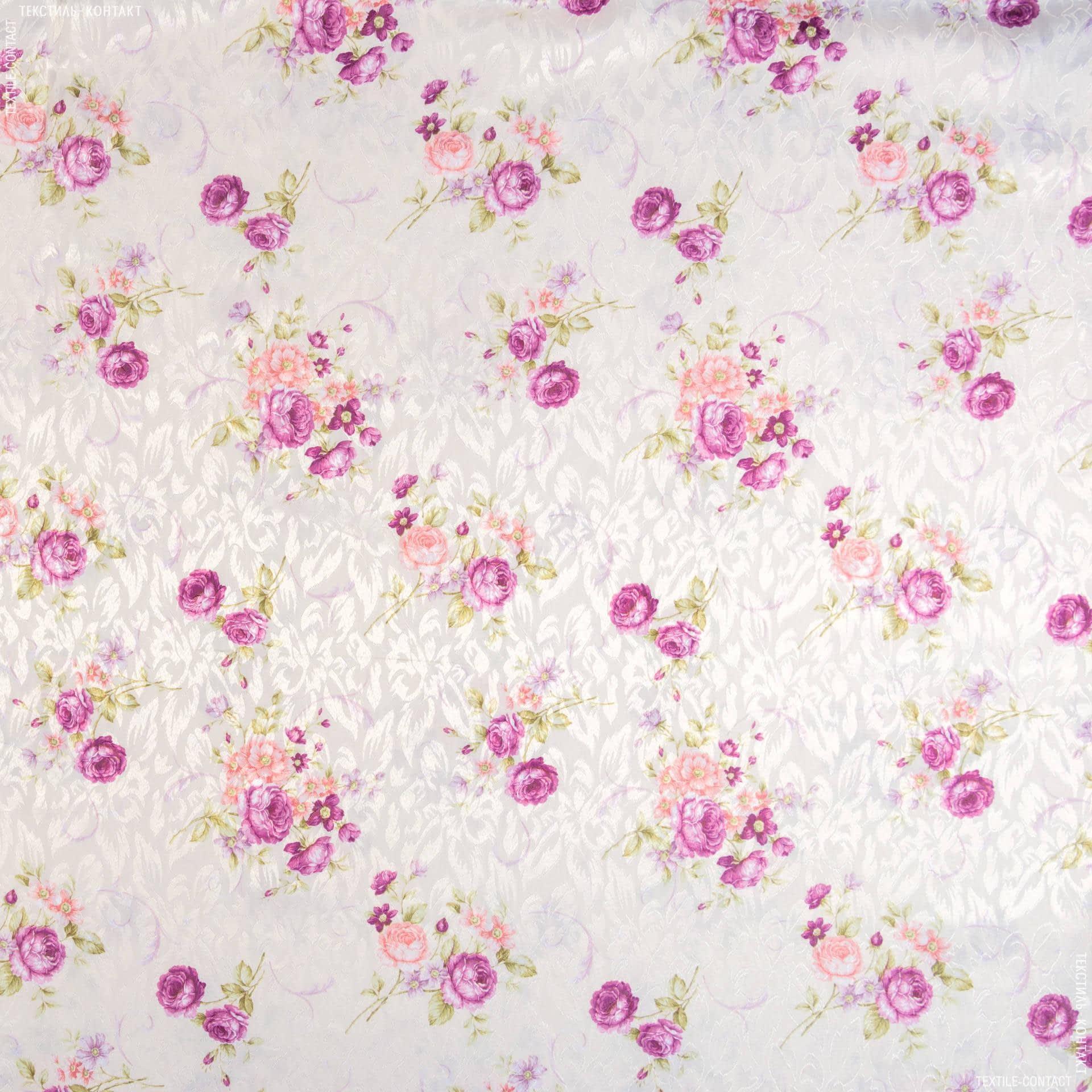 Ткани гардинные ткани - Декоративная ткань сатен принт  розы сирень