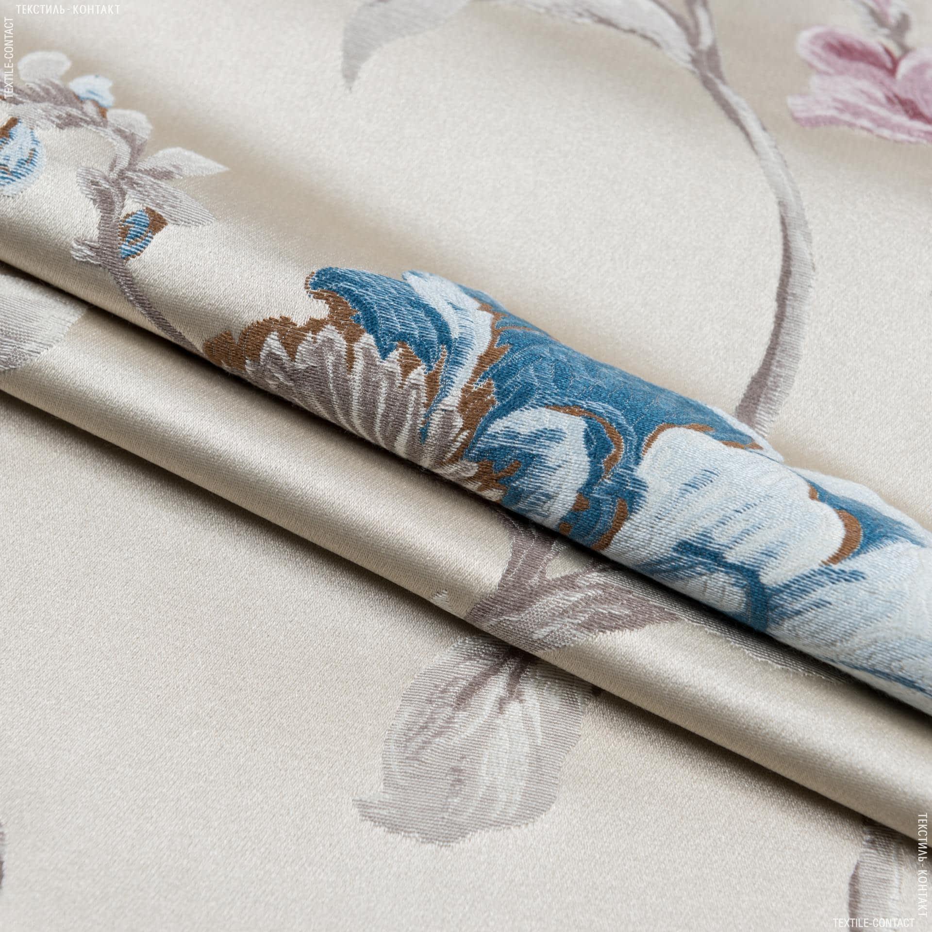 Ткани портьерные ткани - Декоративная ткань  палми цветы/palmi  фон ракушка,розовый/голубой