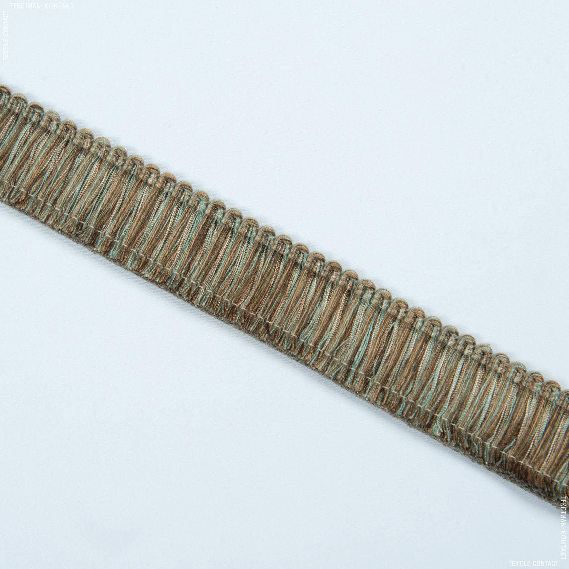 Тканини фурнітура для декора - Бахрома імеджен щітка коричневий-бірюза
