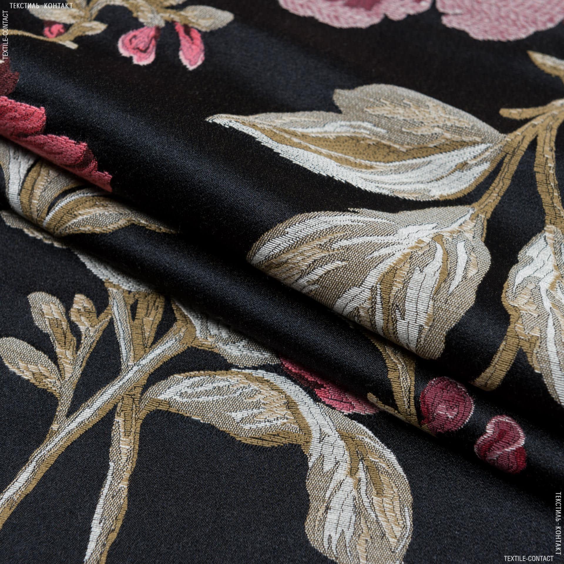 Ткани портьерные ткани - Декоративная ткань  палми  / palmi  фон черный, бордо