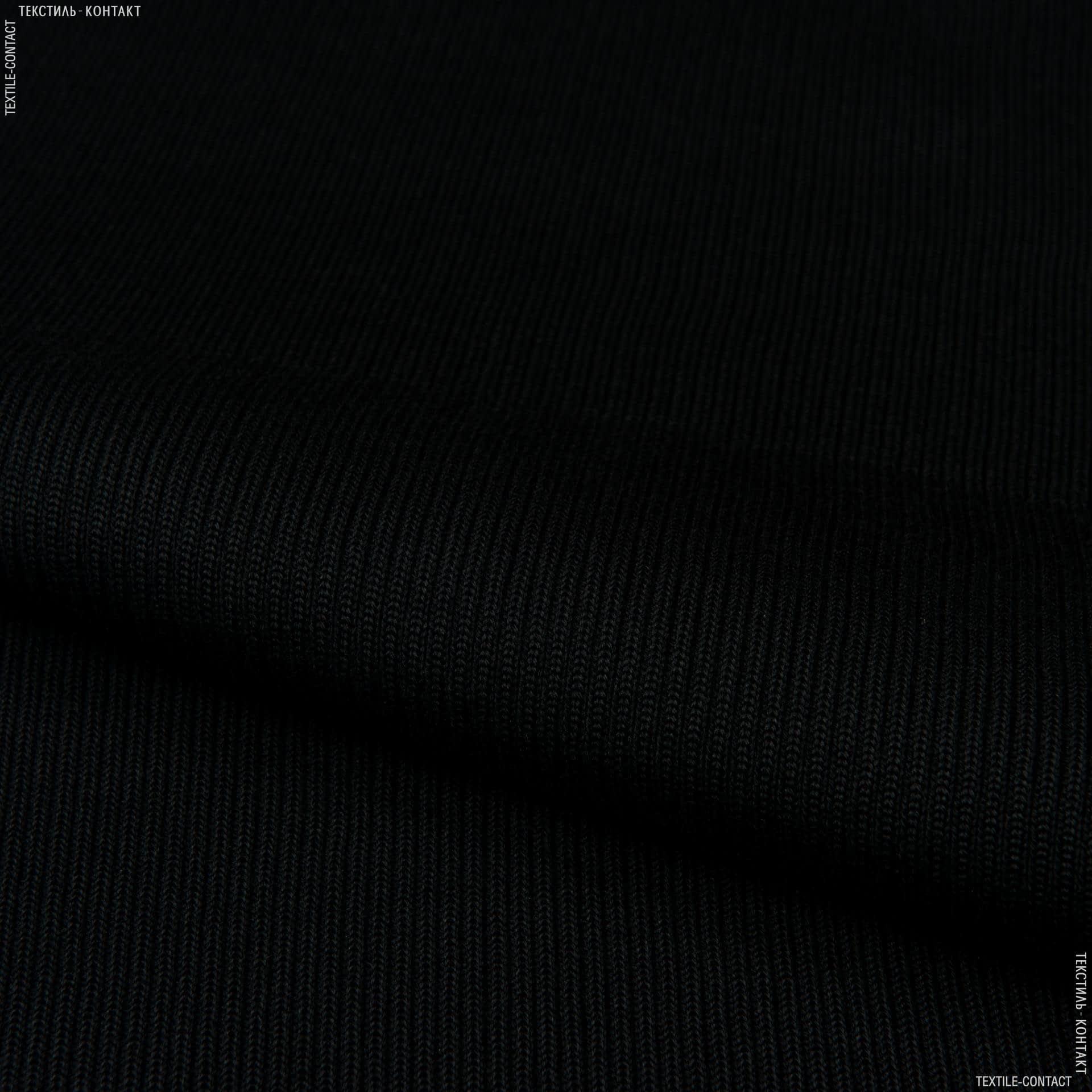 Тканини ластичні - Ластік-манжет 2х2  напіввовна 40см х 2 чорний