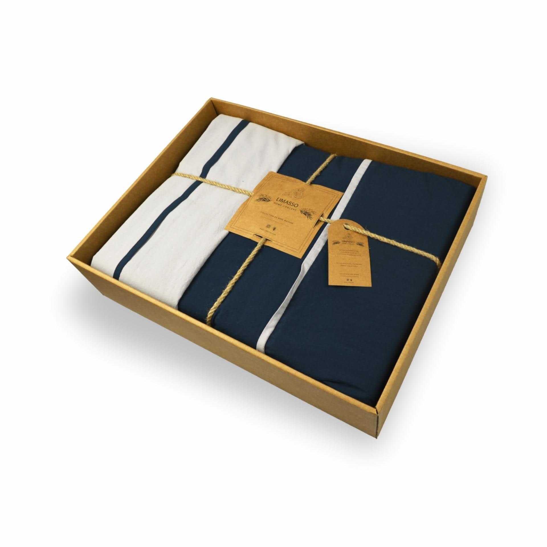 Ткани комплект постельного белья - Кпб евро сине-серый