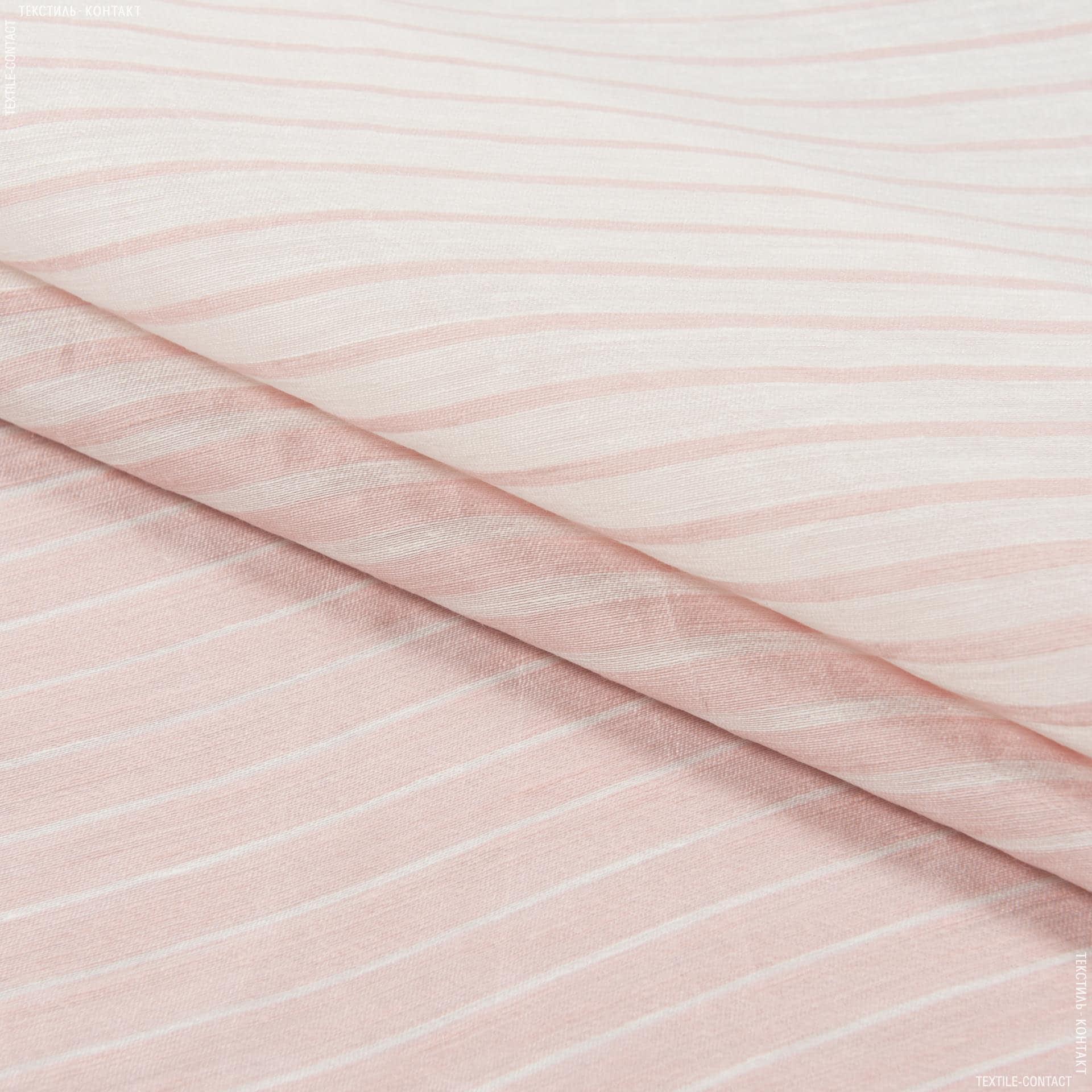Ткани для костюмов - Лен купон 100см бело-розовый