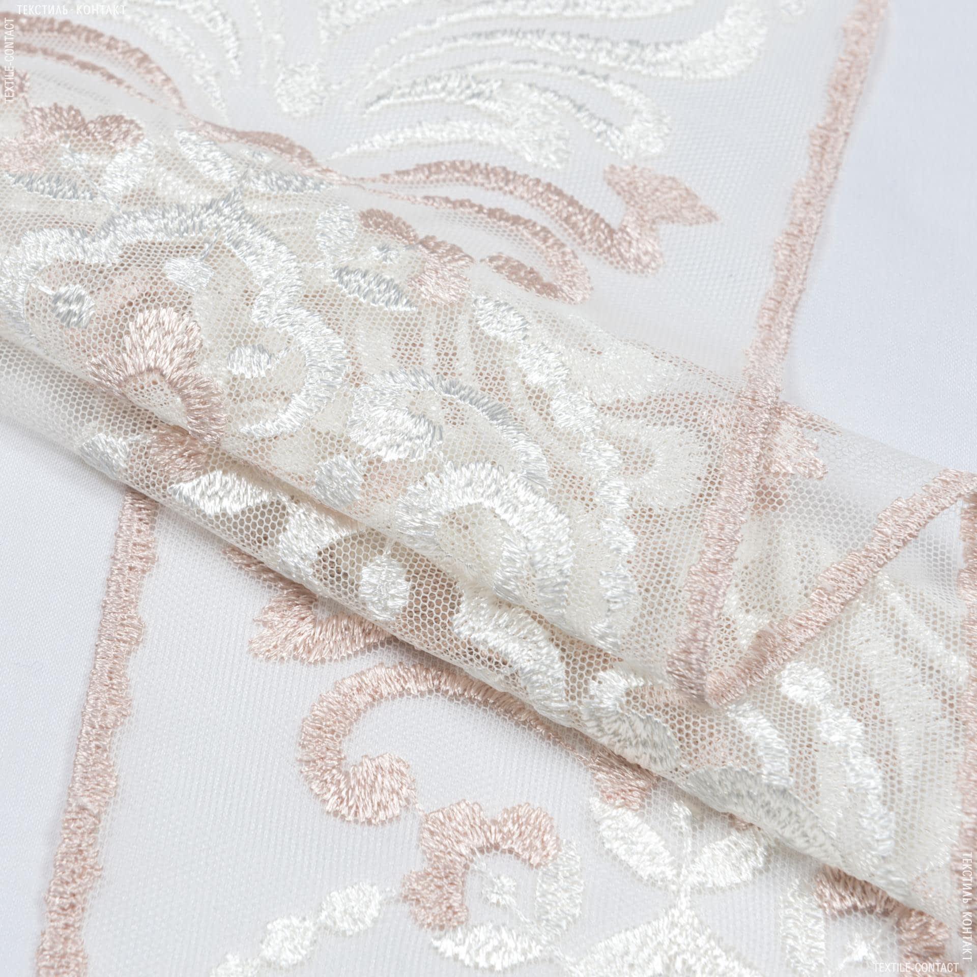 Тканини для печворку - Декоративне мереживо верона/ молочний-рожевий 170см