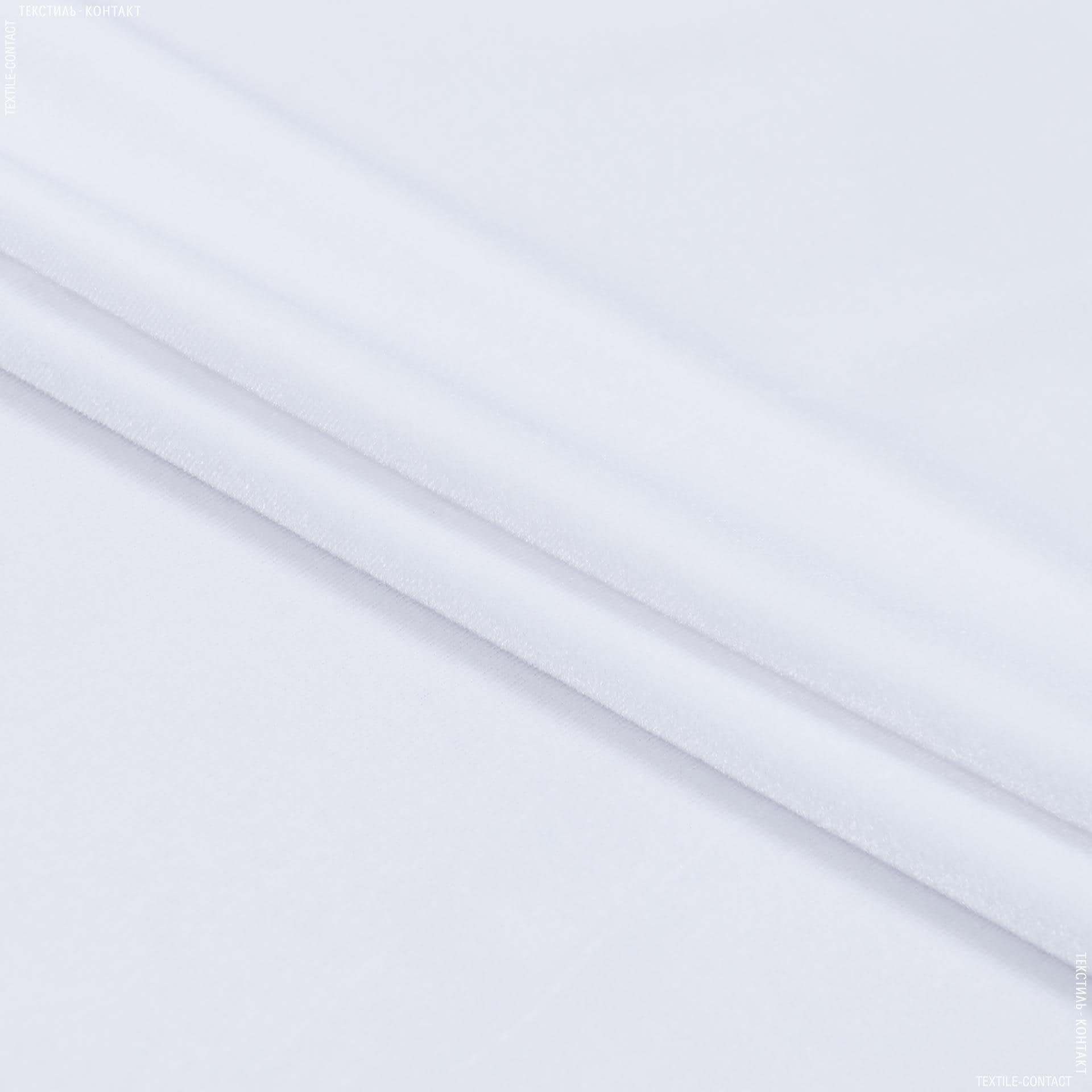 Ткани для верхней одежды - Бархат стрейч белый