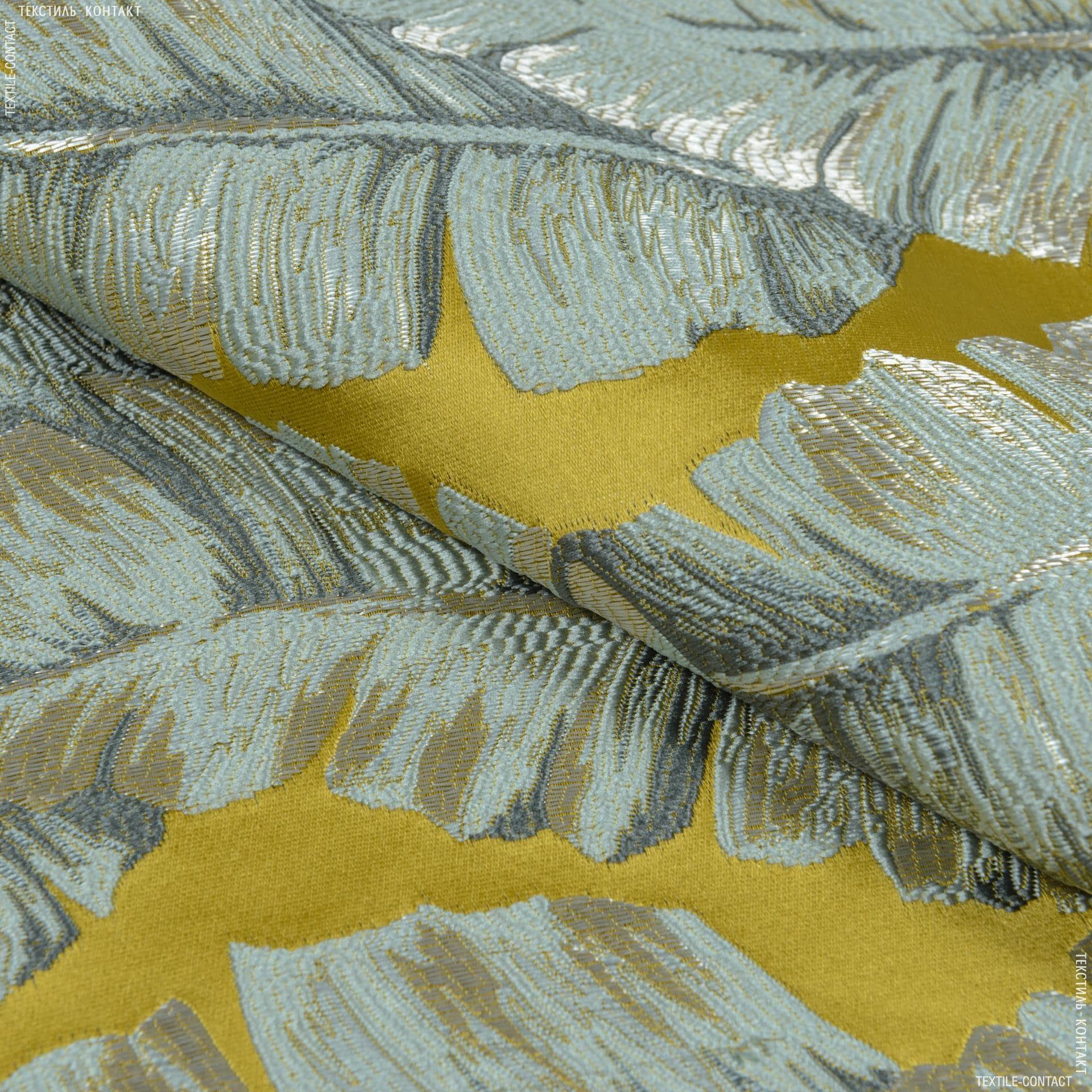 Тканини портьєрні тканини - Декоративна тканина ФЛОРА листя банана / гірчиця