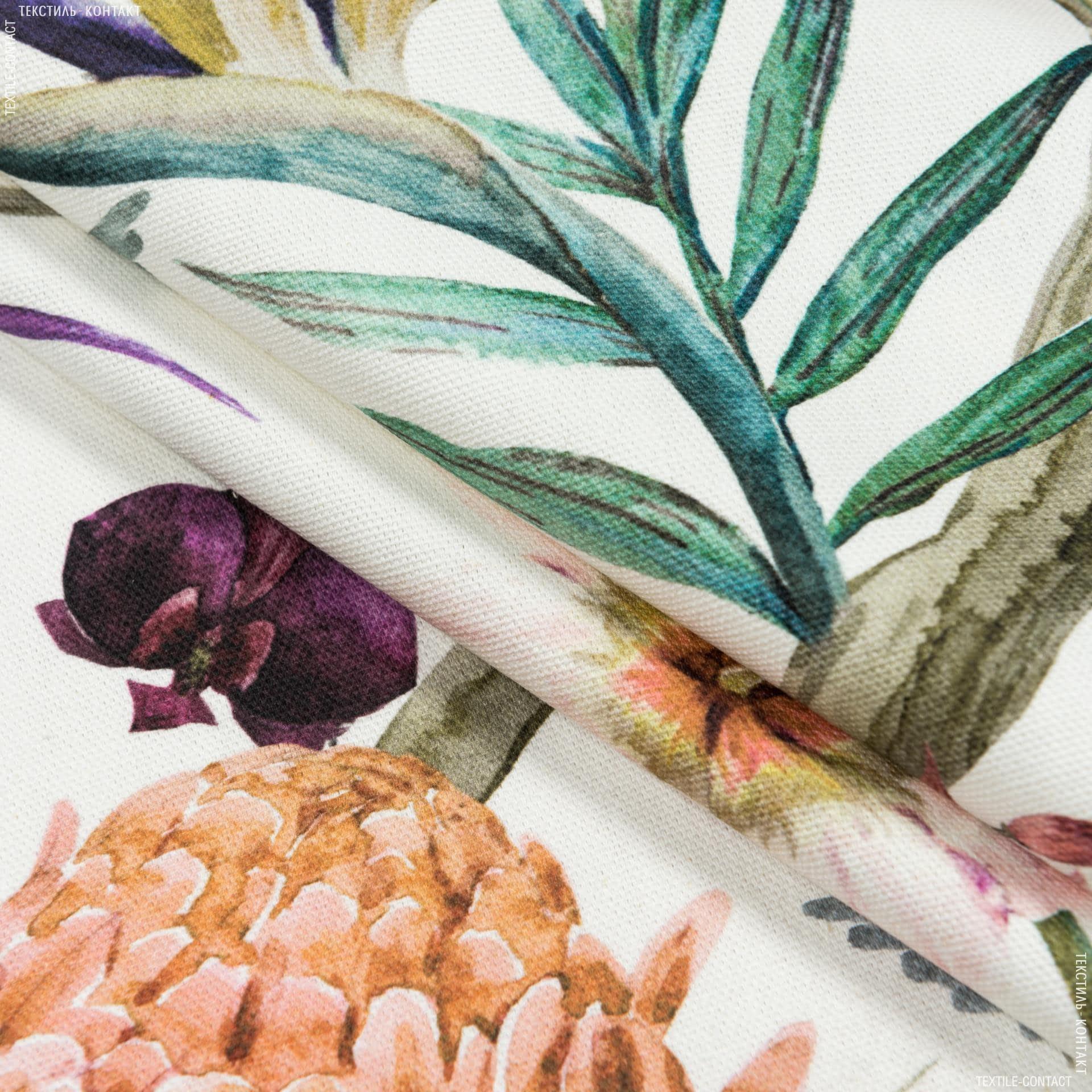 Ткани портьерные ткани - Декоративная ткань самарканда/samarcanda  колибри, цветы оранж