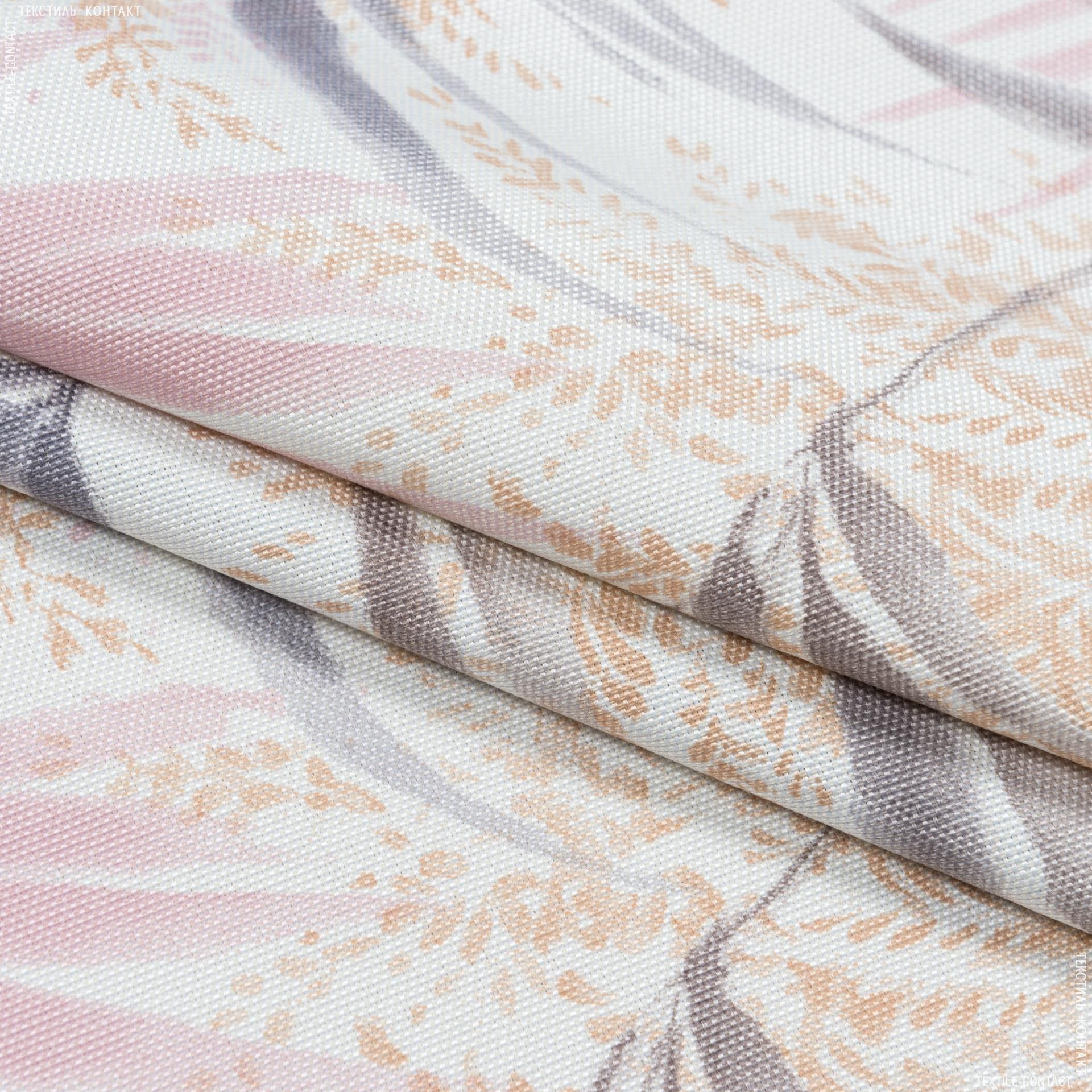 Тканини портьєрні тканини - Декоративна тканина macapa листя рожевий сірий