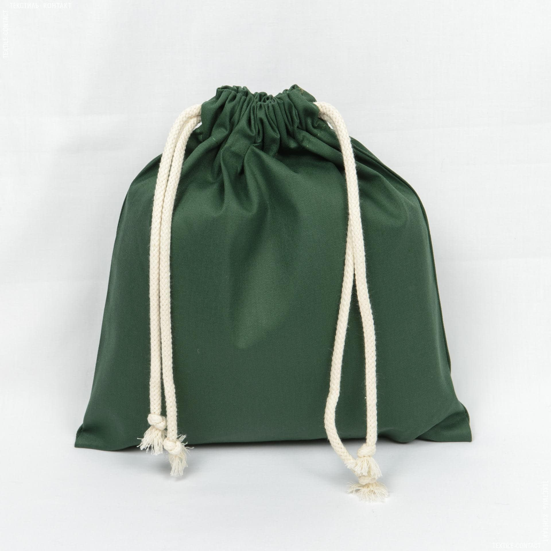 Ткани экосумка - Мешочек саржа зеленый 30х33