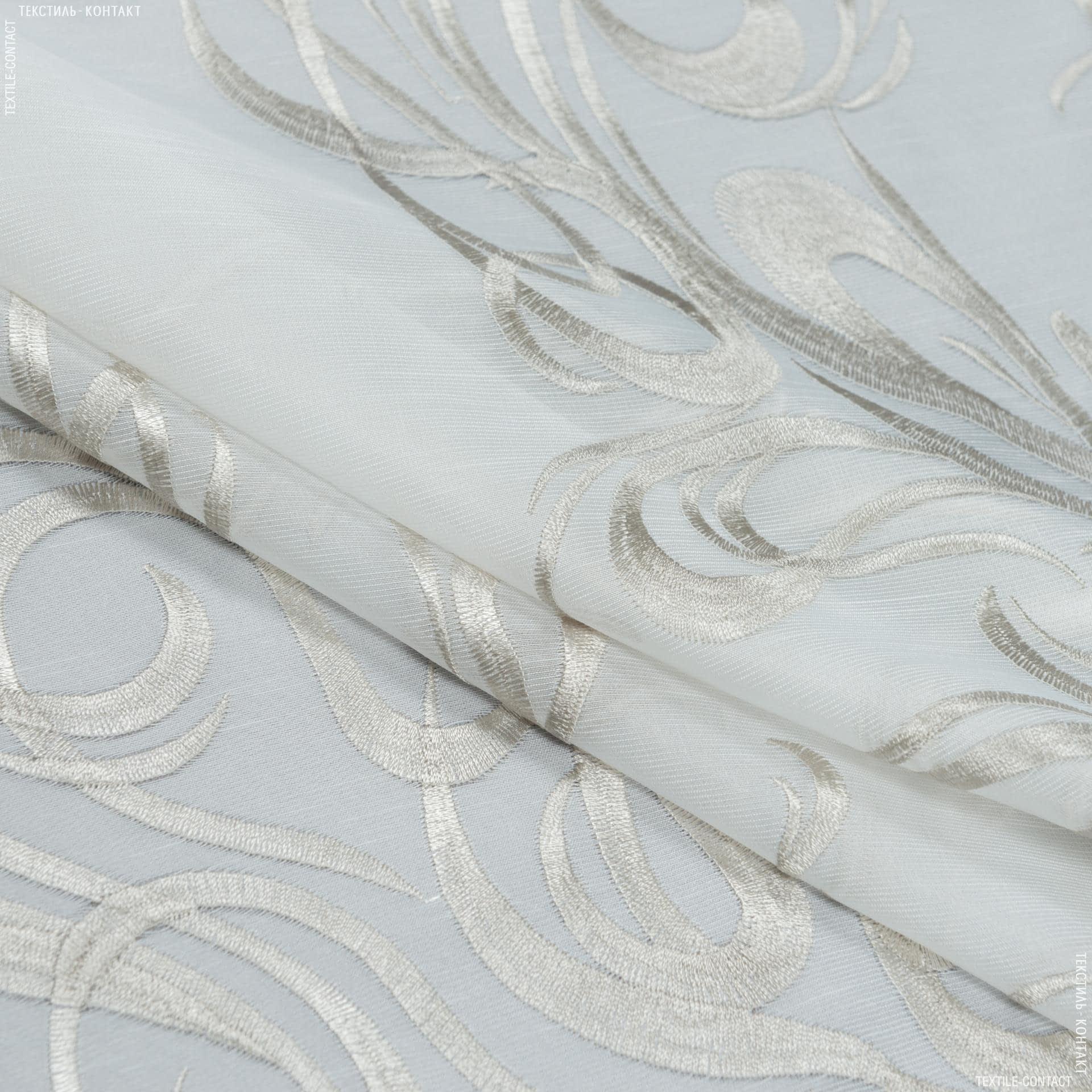Ткани для тюли - Тюль с утяжелителем агаста молочный  купон/  вышивка  серый