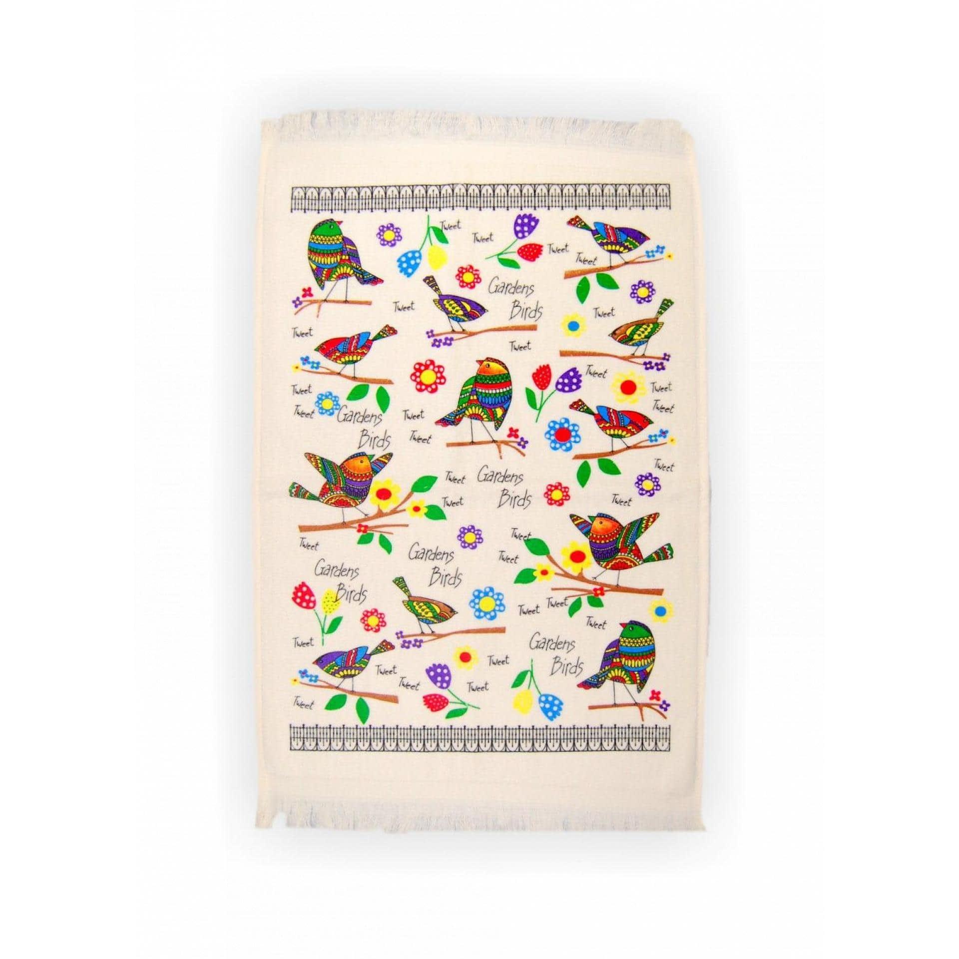 Ткани кухонные полотенца - ПОЛОТЕНЦЕ КУХОННОЕ ВЕЛЮРОВОЕ  40х60 ПТИЦЫ
