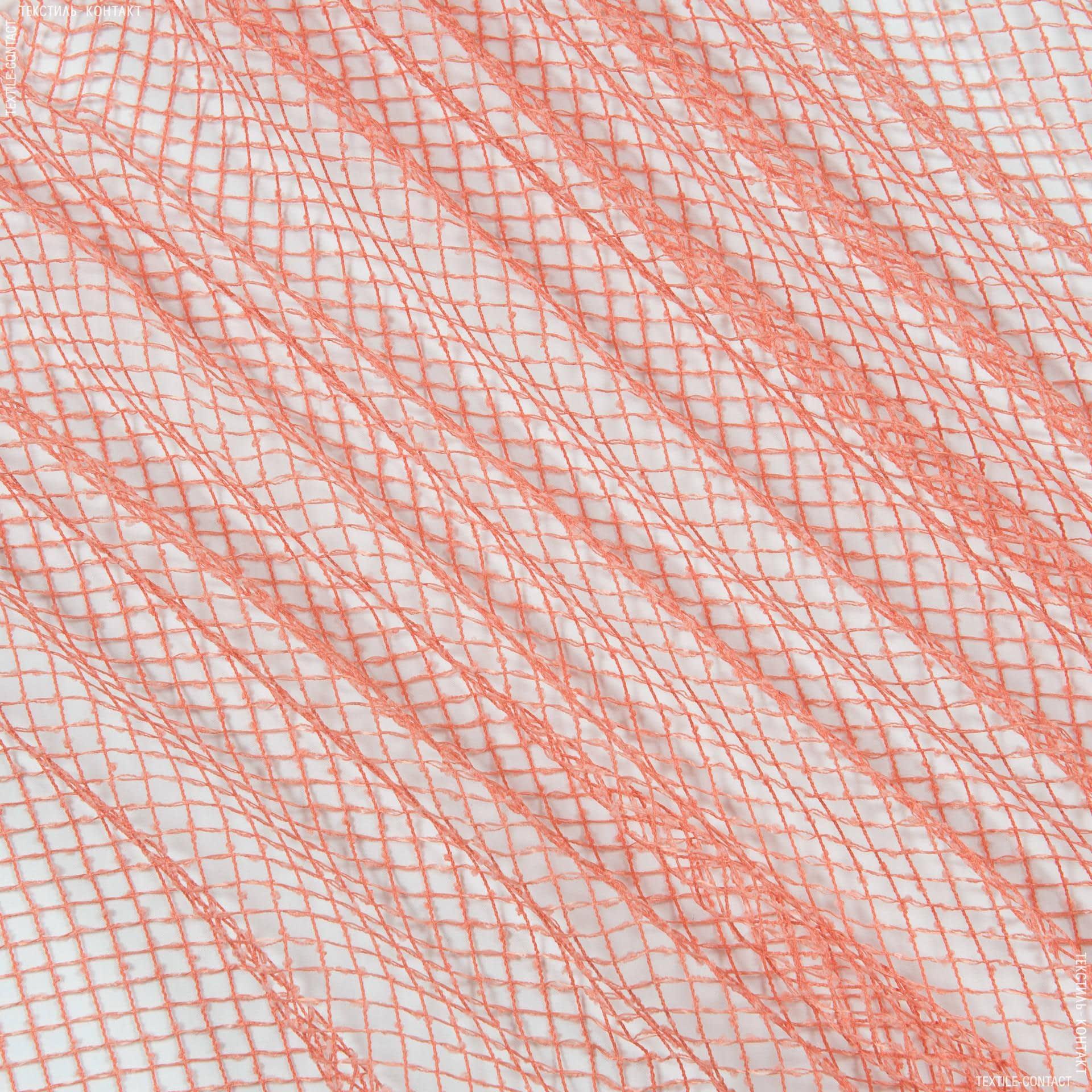 Ткани для драпировки стен и потолков - Тюль сетка  элиза/ св. коралл
