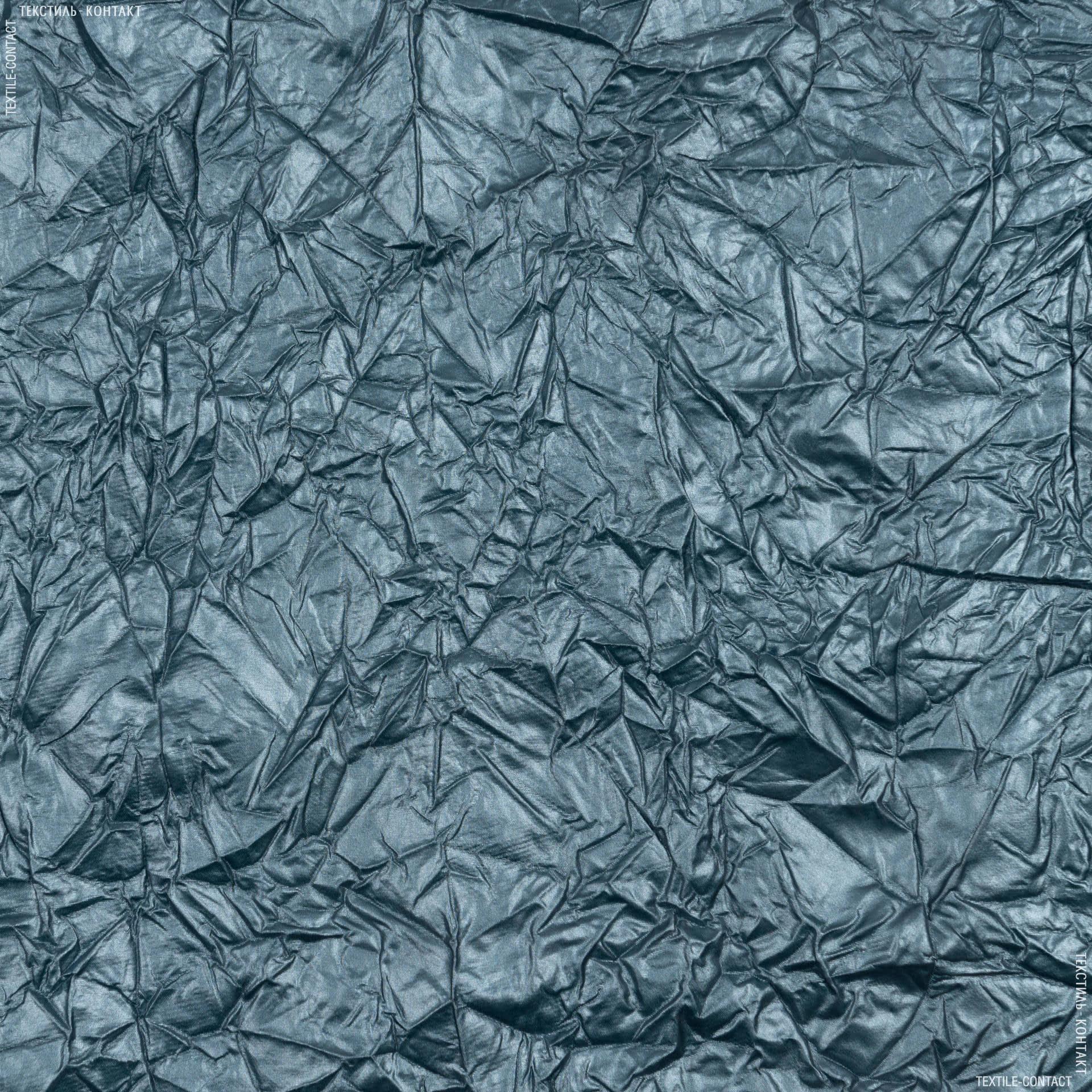 Ткани для верхней одежды - Плащевая лаке крэш темно-бирюзовый