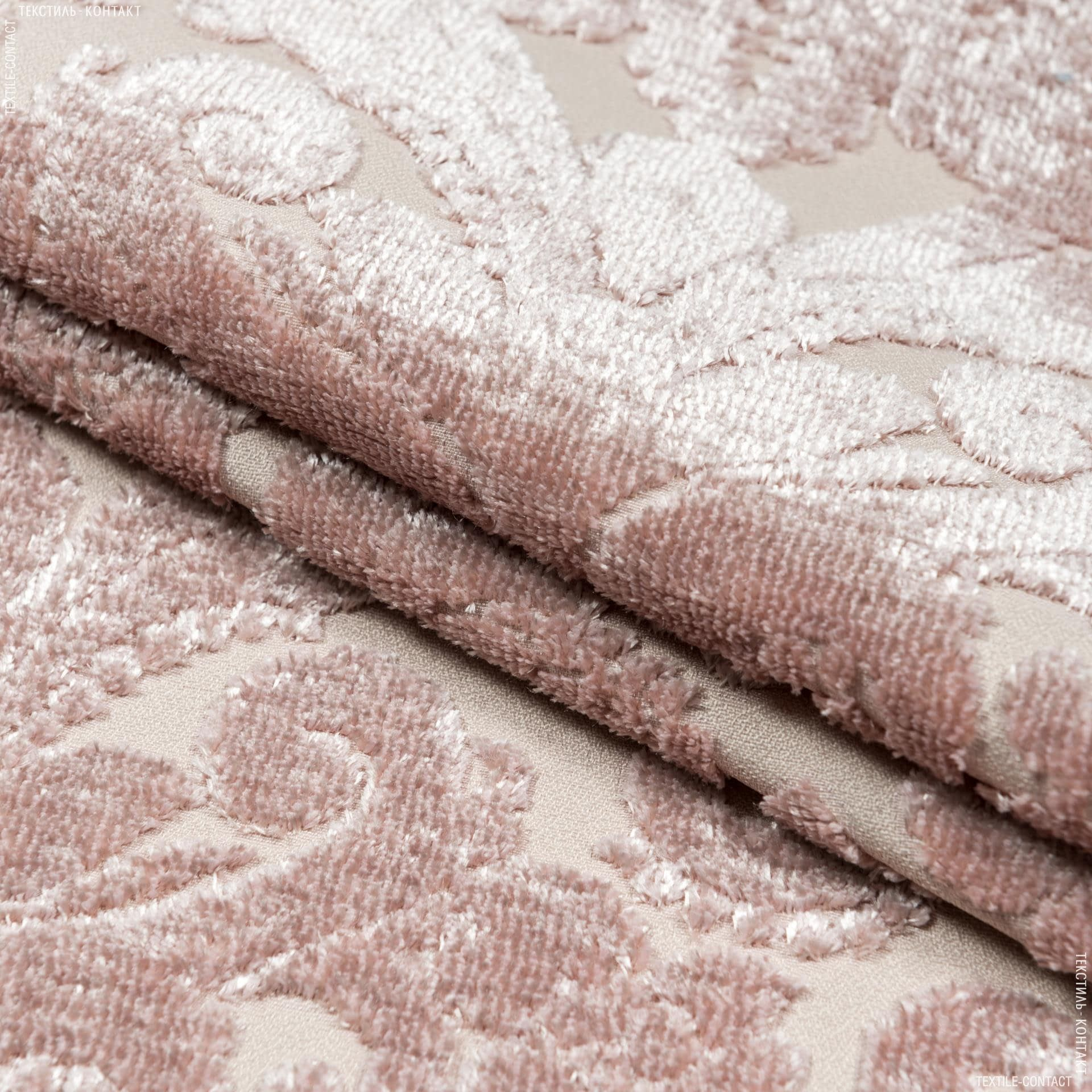 Ткани для мебели - Велюр  жаккард жасмин вензель/jasmine  св.розовый  м