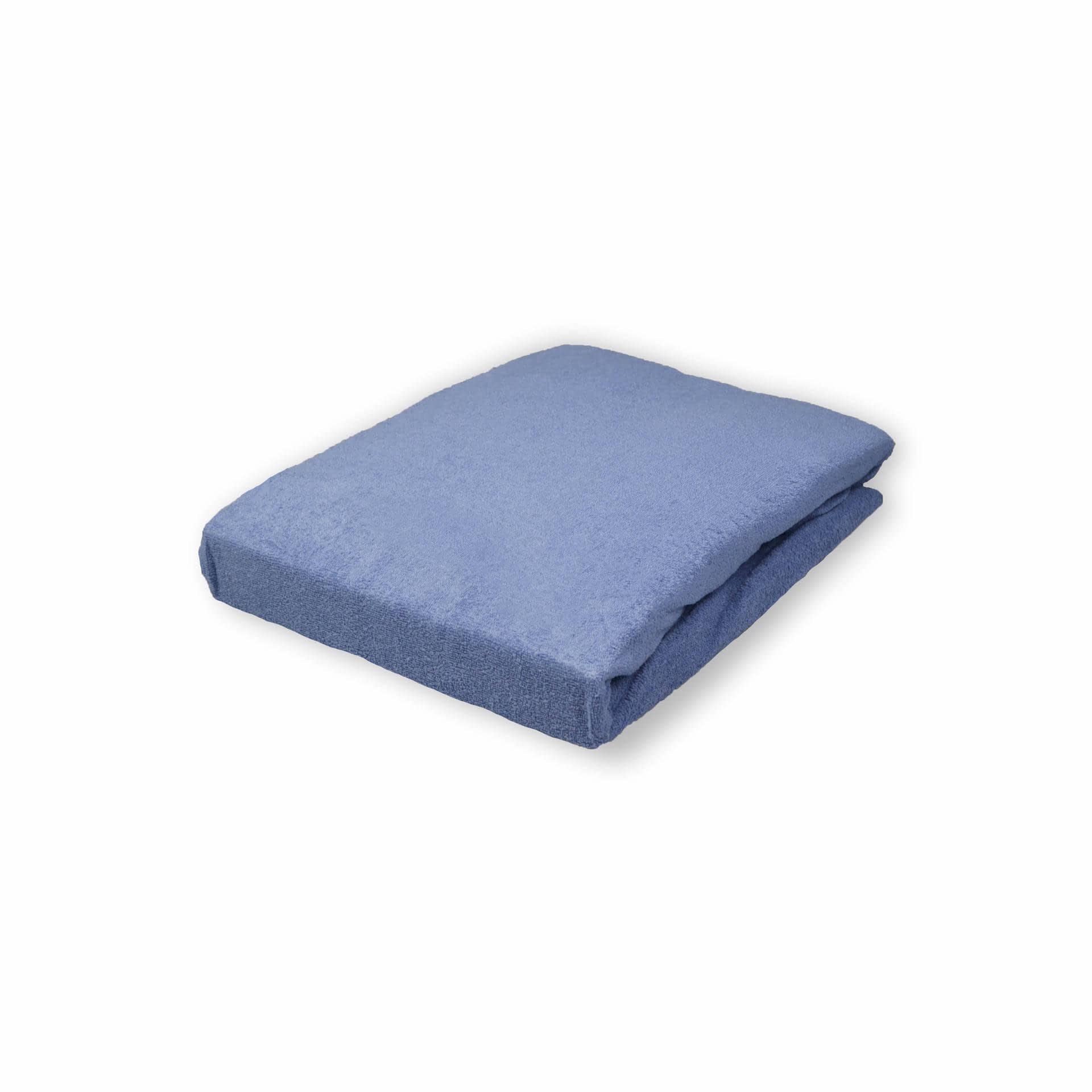 Ткани простыни - Простынь махровая на резинке джинс  180х200 см