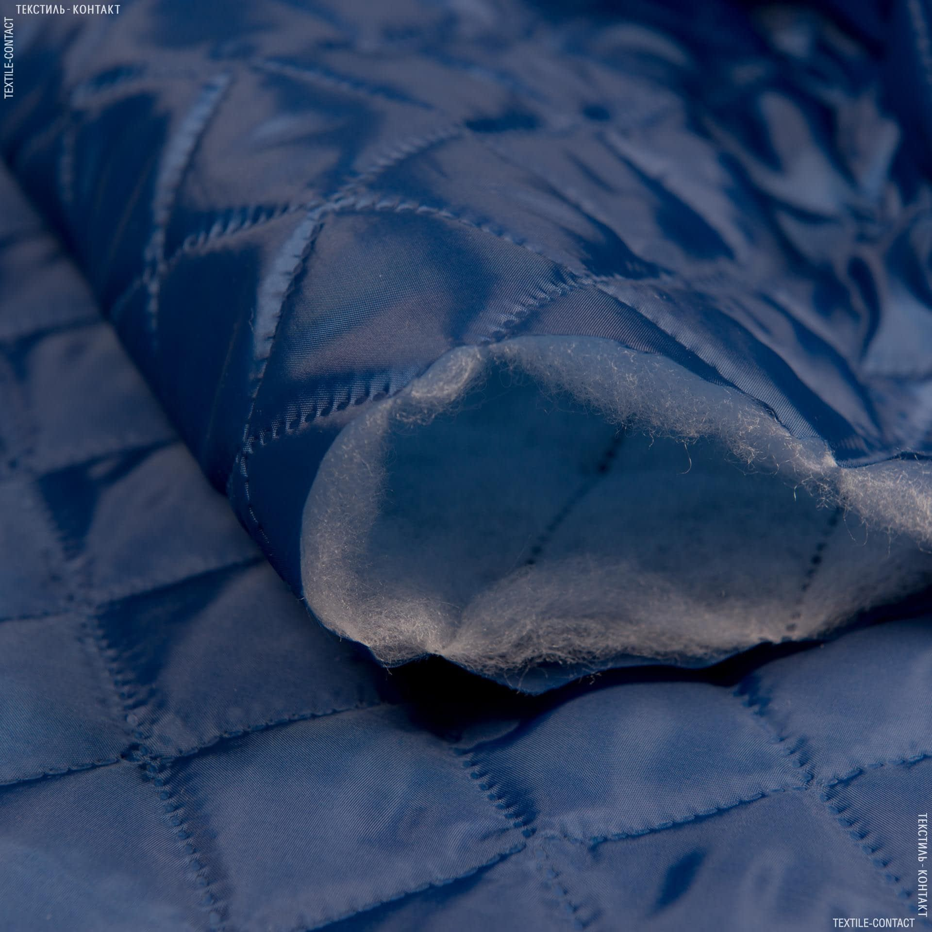 Тканини підкладкова тканина - Підкладка 190т термопаяна з синтепоном 100г/м 5х5 синій