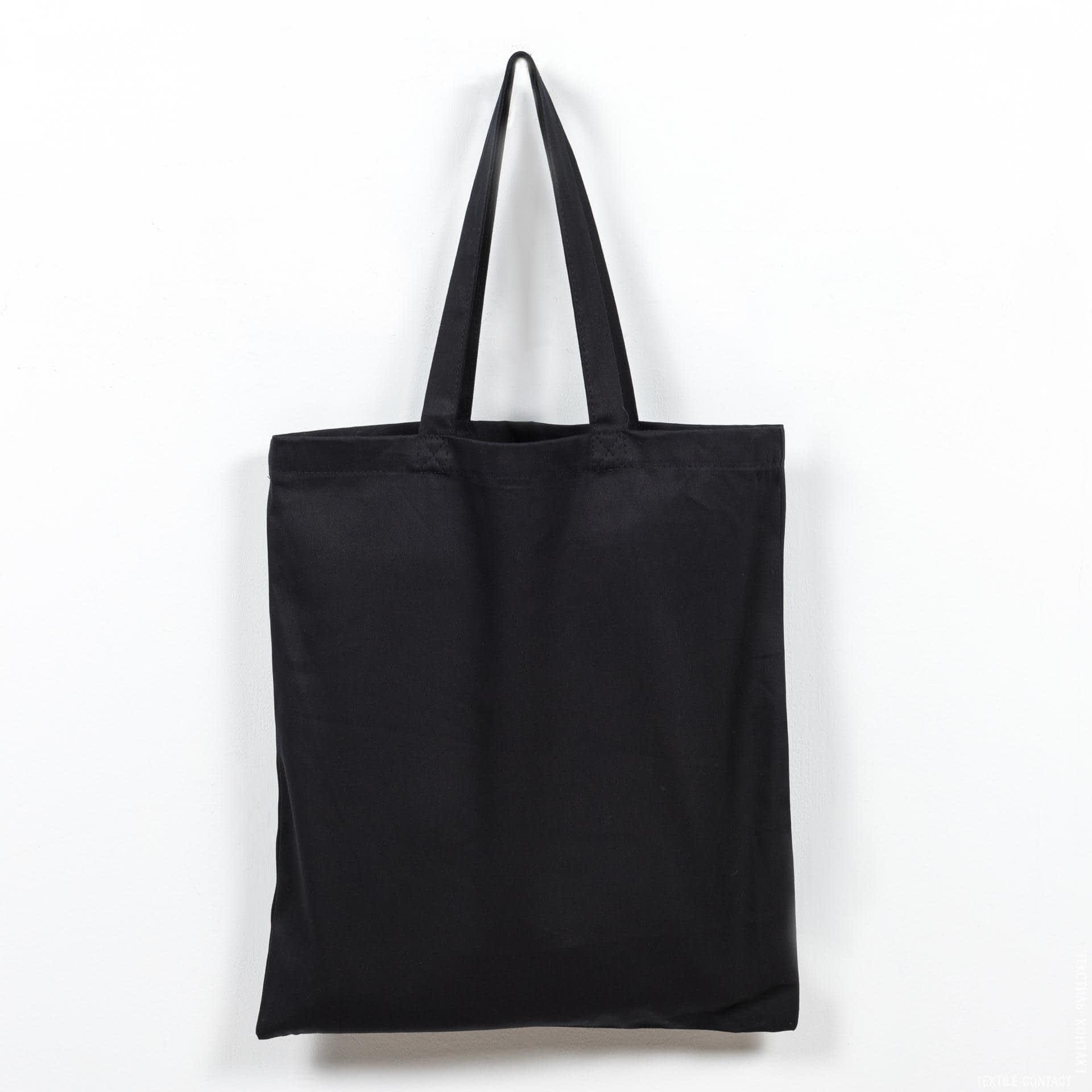 Ткани экосумка - Экосумка саржа черный (ручка 70 см)
