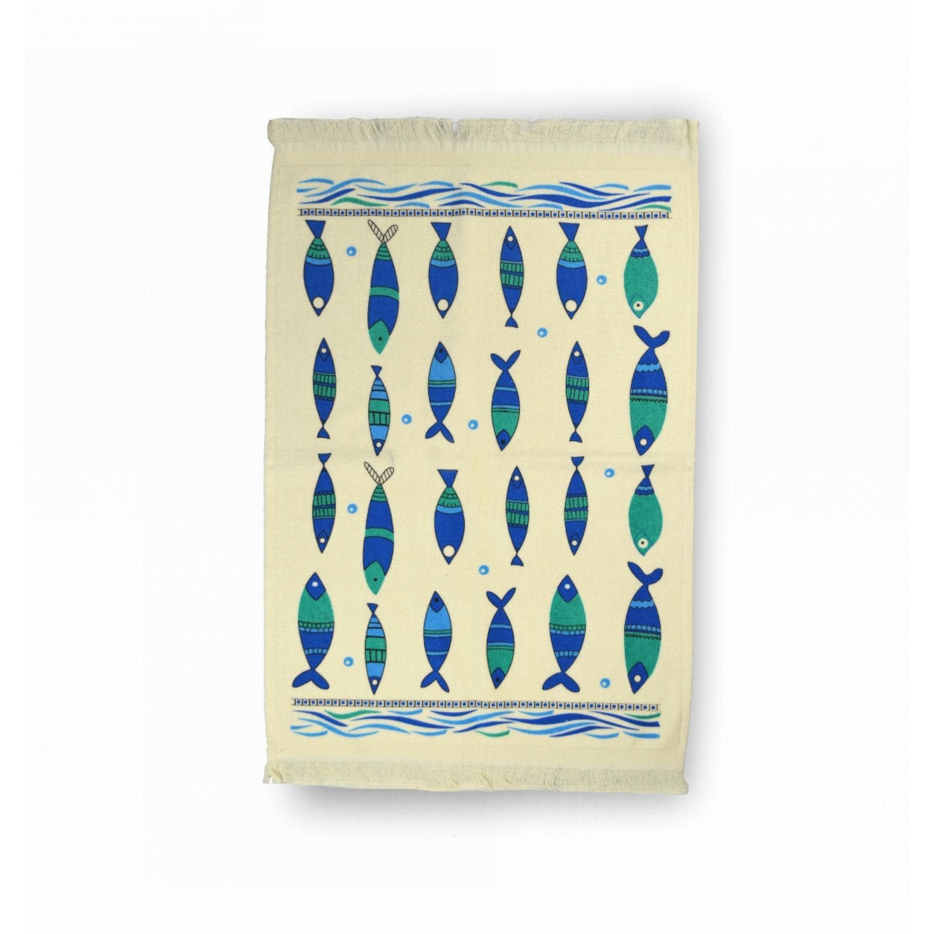 Ткани кухонные полотенца - ПОЛОТЕНЦЕ КУХОННОЕ ВЕЛЮРОВОЕ  40х60 РЫБКИ