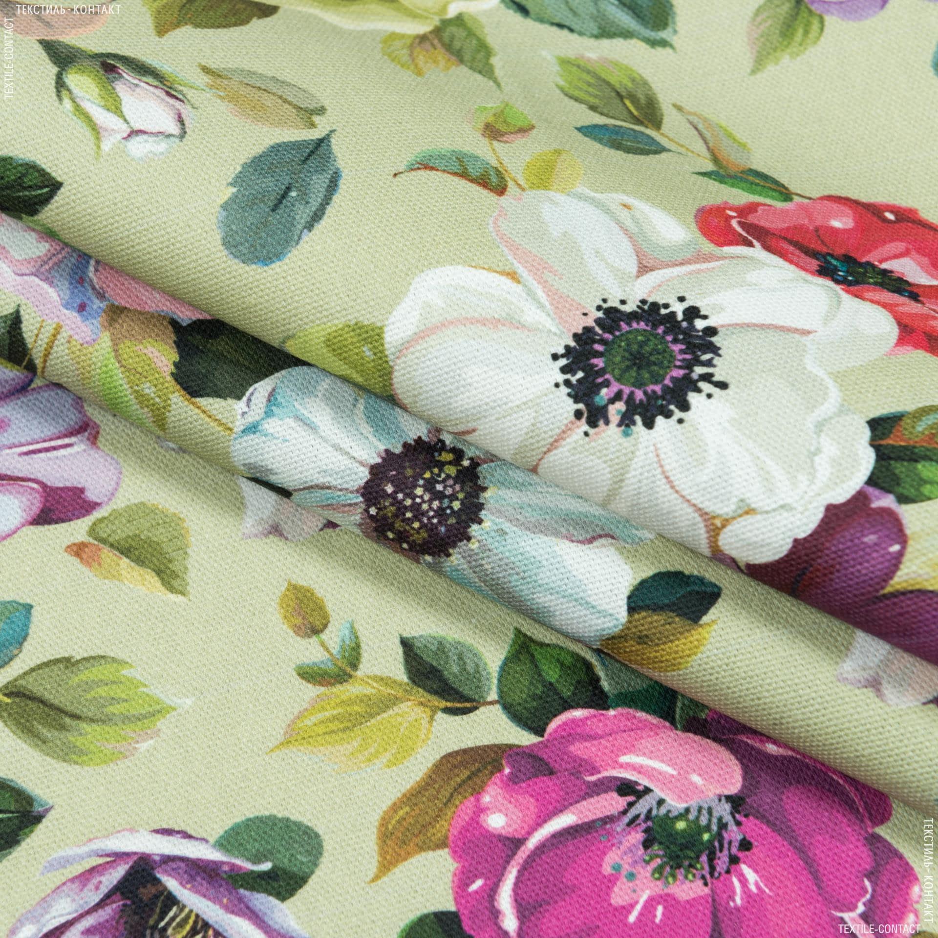 Ткани портьерные ткани - Декоративная ткань  цветы шиповника фон зеленый чай