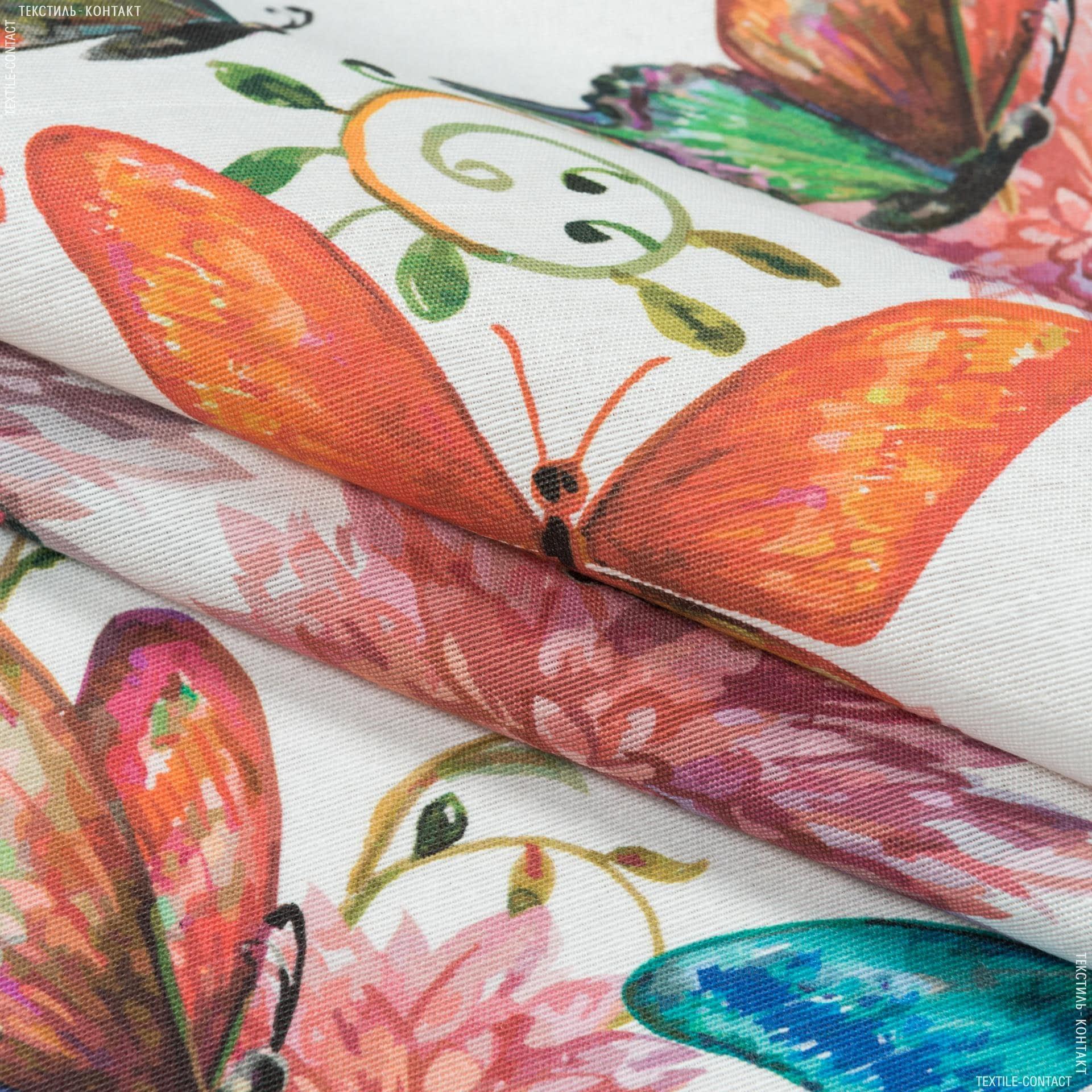 Ткани портьерные ткани - Декоративная ткань цветы бабочки фон молочный