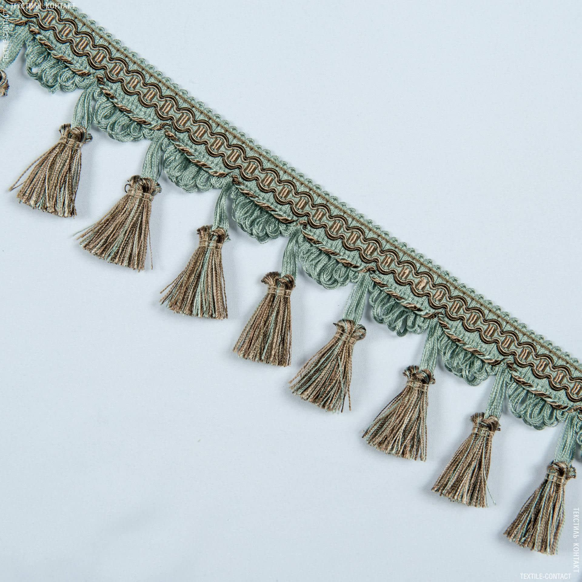 Ткани фурнитура для декора - Бахрома имеджен кисточка коричневый-бирюза
