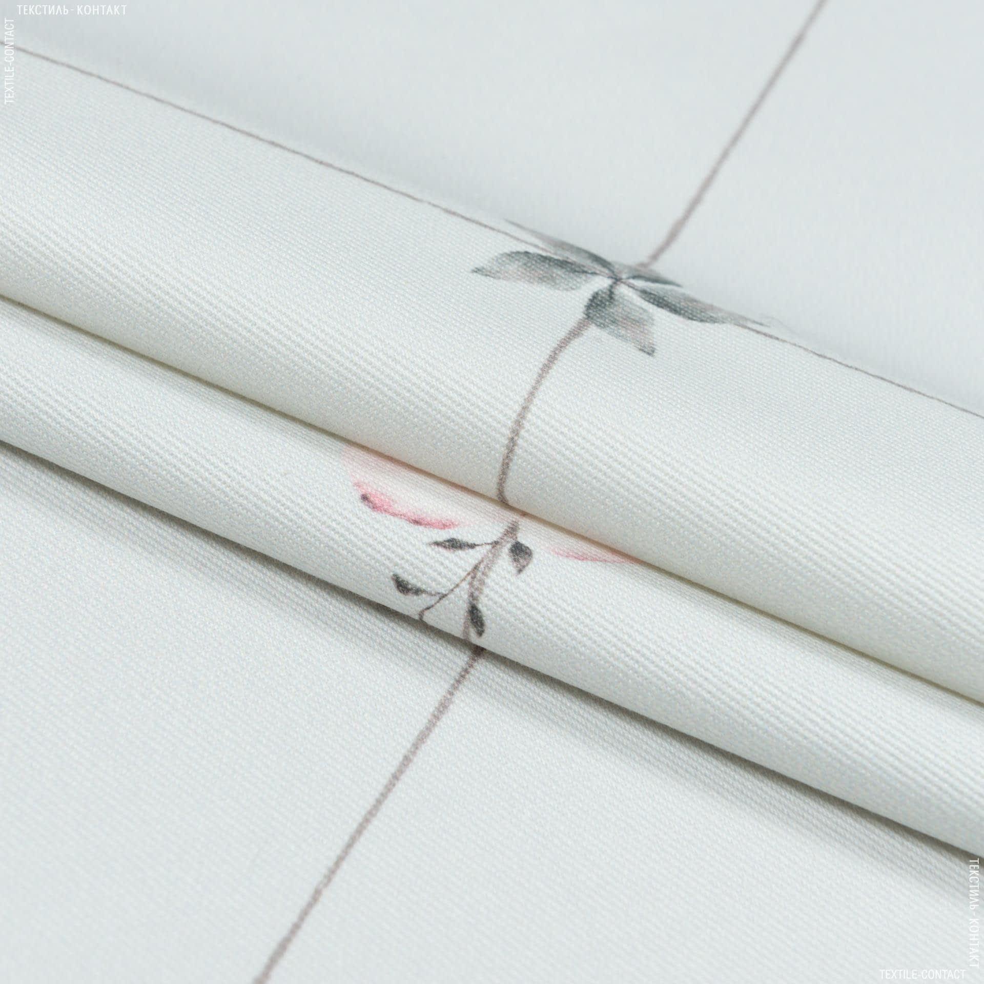 Тканини портьєрні тканини - Декоративна тканина лія ромб квіти білий полин