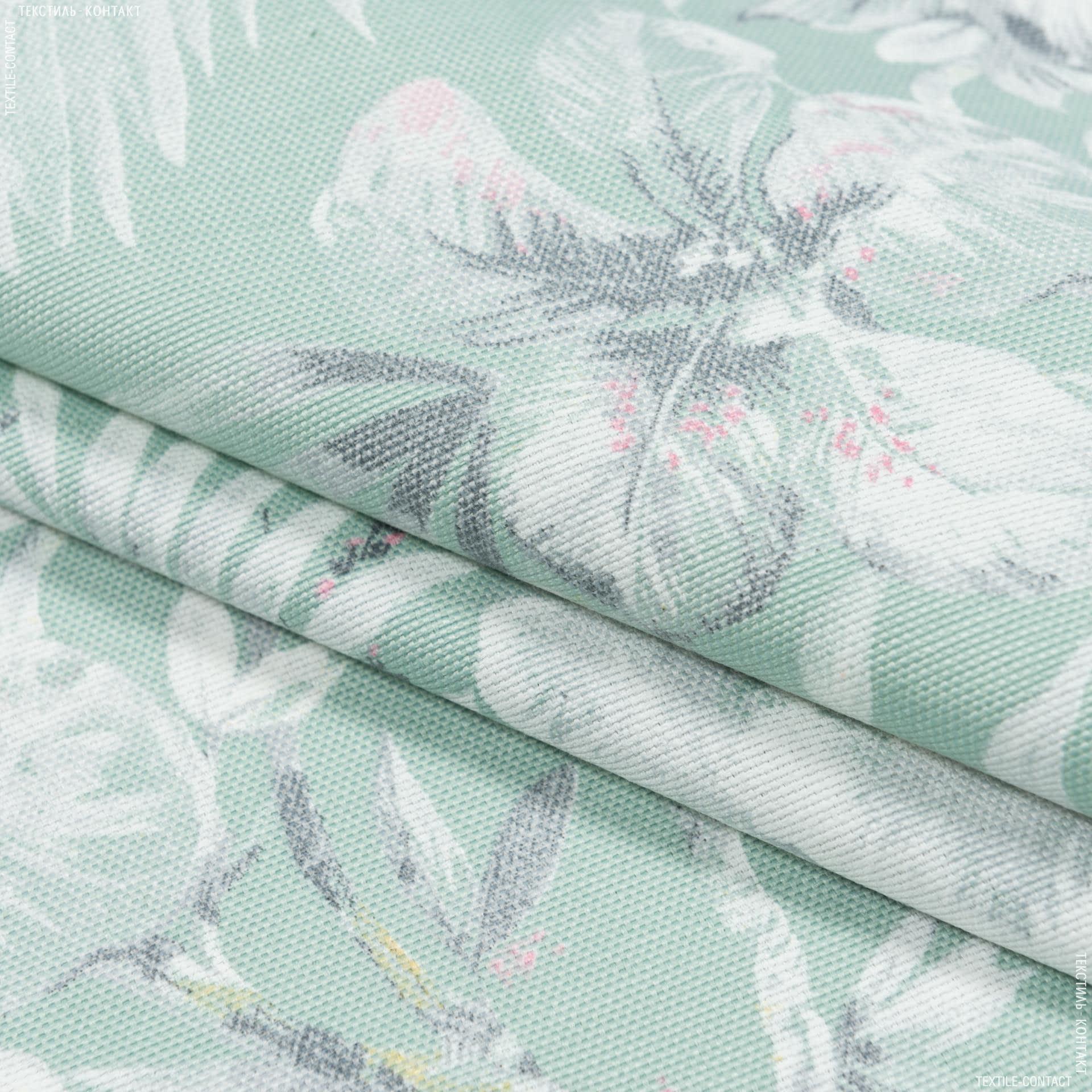 Ткани портьерные ткани - Декоративная ткань омбра  цветы/ombra  фон бирюза